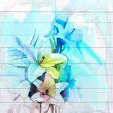 queence Holzbild »Blau-Weiße Blüten«, 40x40 cm Echtholz, bunt