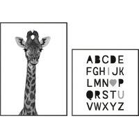 wandbild »alphabet und eine giraffe schwarz-weiß - wandbilder set«, (set, 2 stück)