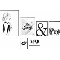 wandbild »leidenschaft schwarz-weiß - wandbild 6-er set«, (set, 6 stück)