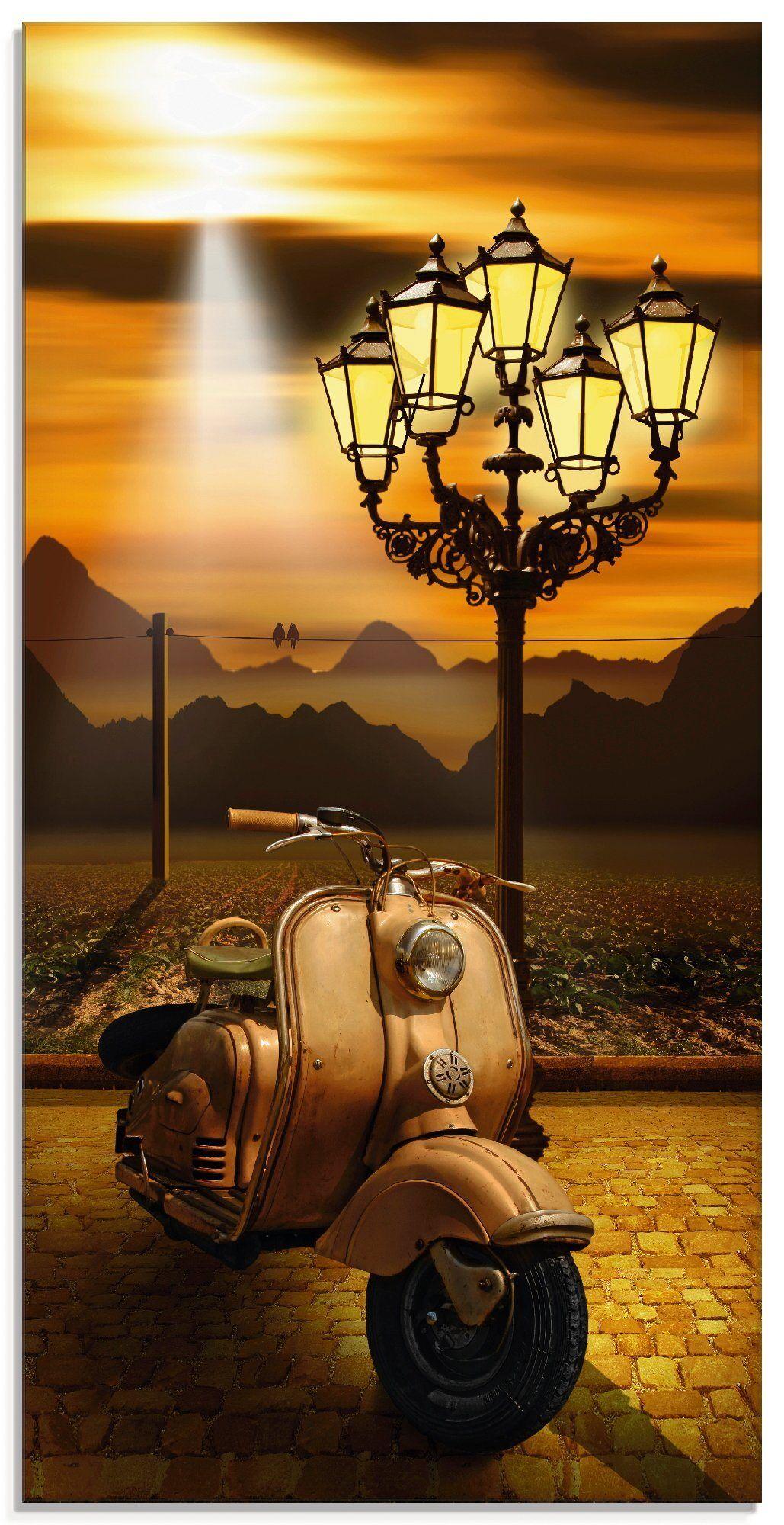 Artland Glasbild »Oldtimer Motorroller romantisch«, Motorräder & Roller (1 Stück)