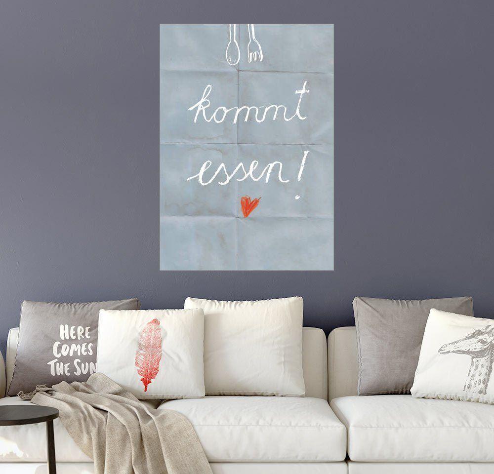 Posterlounge Wandbild - Sabrina Alles Deins »KOMMT ESSEN«, bunt