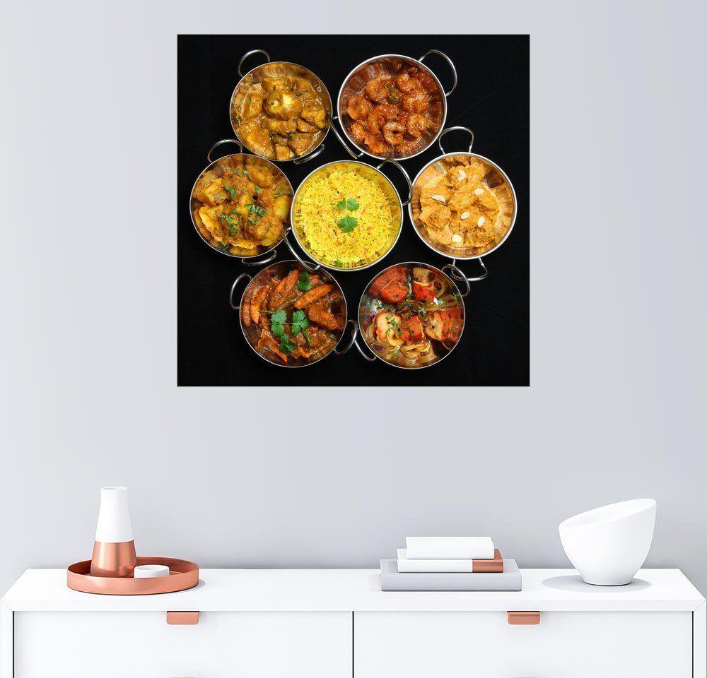 Posterlounge Wandbild »Indisches Essen«, schwarz
