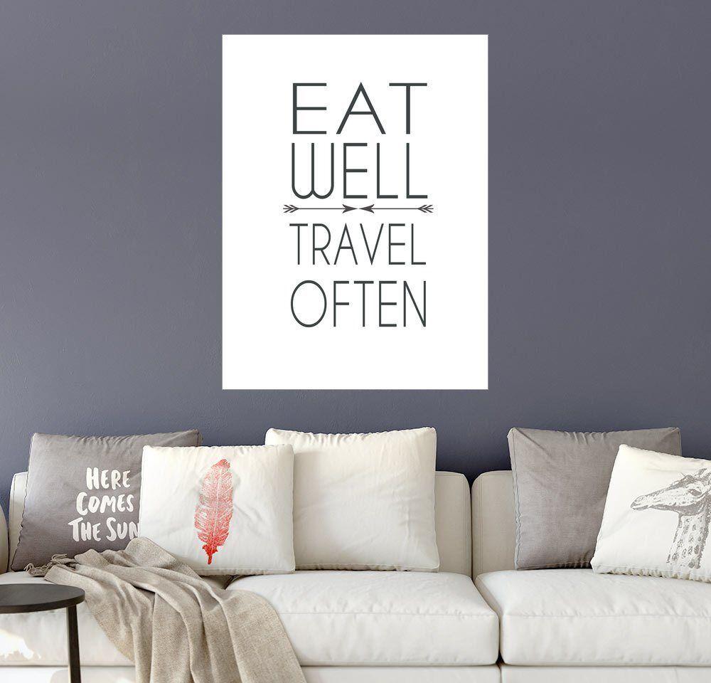 Posterlounge Wandbild - Dani Wijeyesinghe »Gut essen, viel reisen!«, weiß