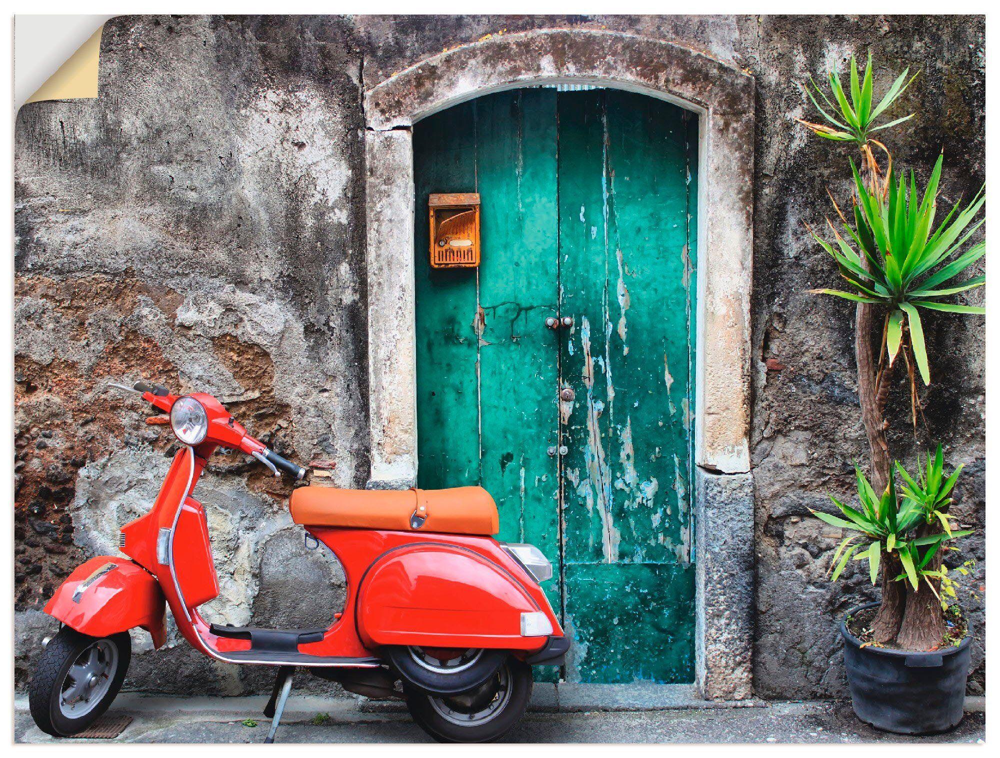 Artland Wandbild »Roter Motorroller«, Motorräder & Roller (1 Stück)