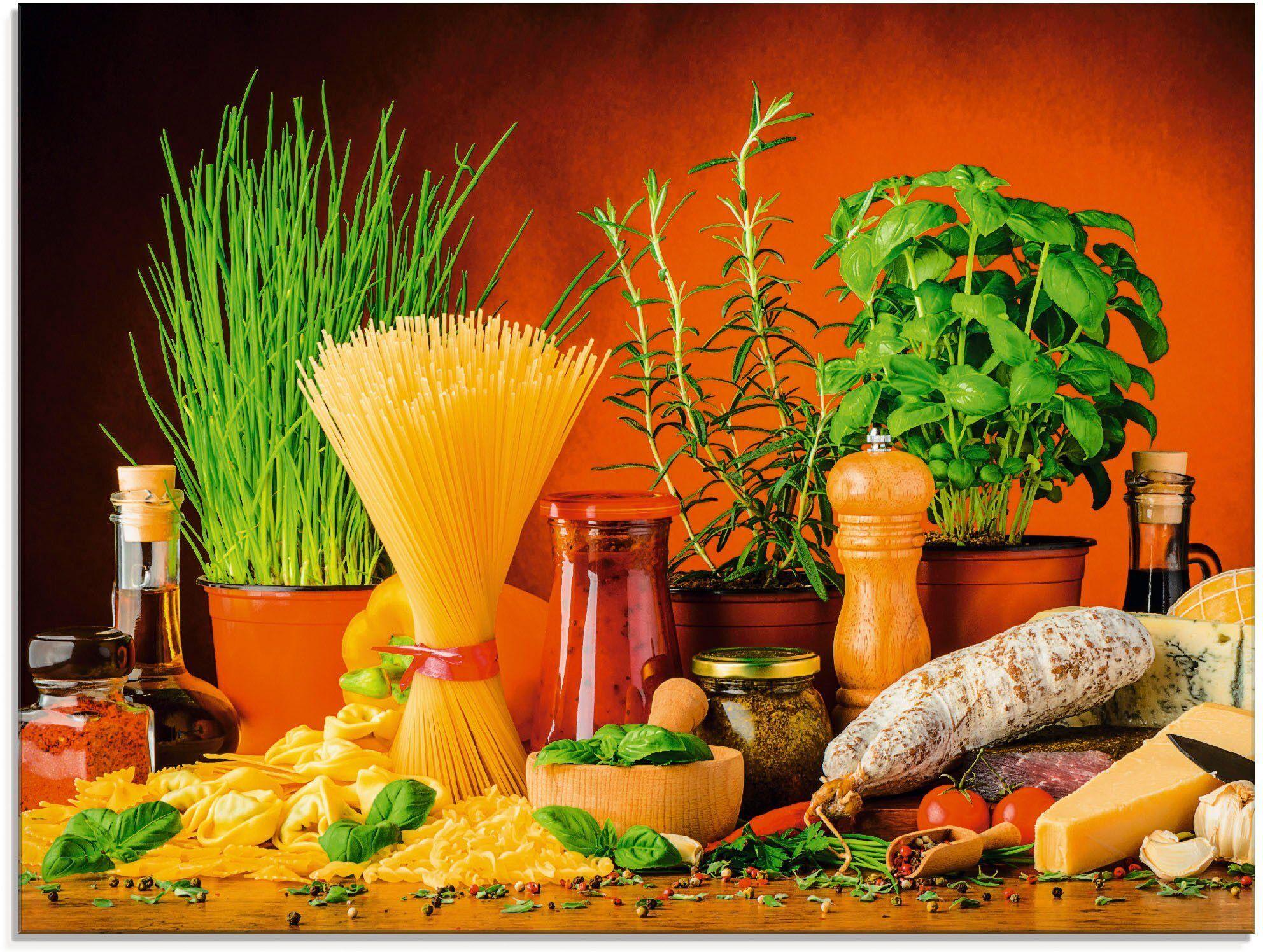 Artland Glasbild »Mediterranes und italienisches Essen«, (1 Stück)