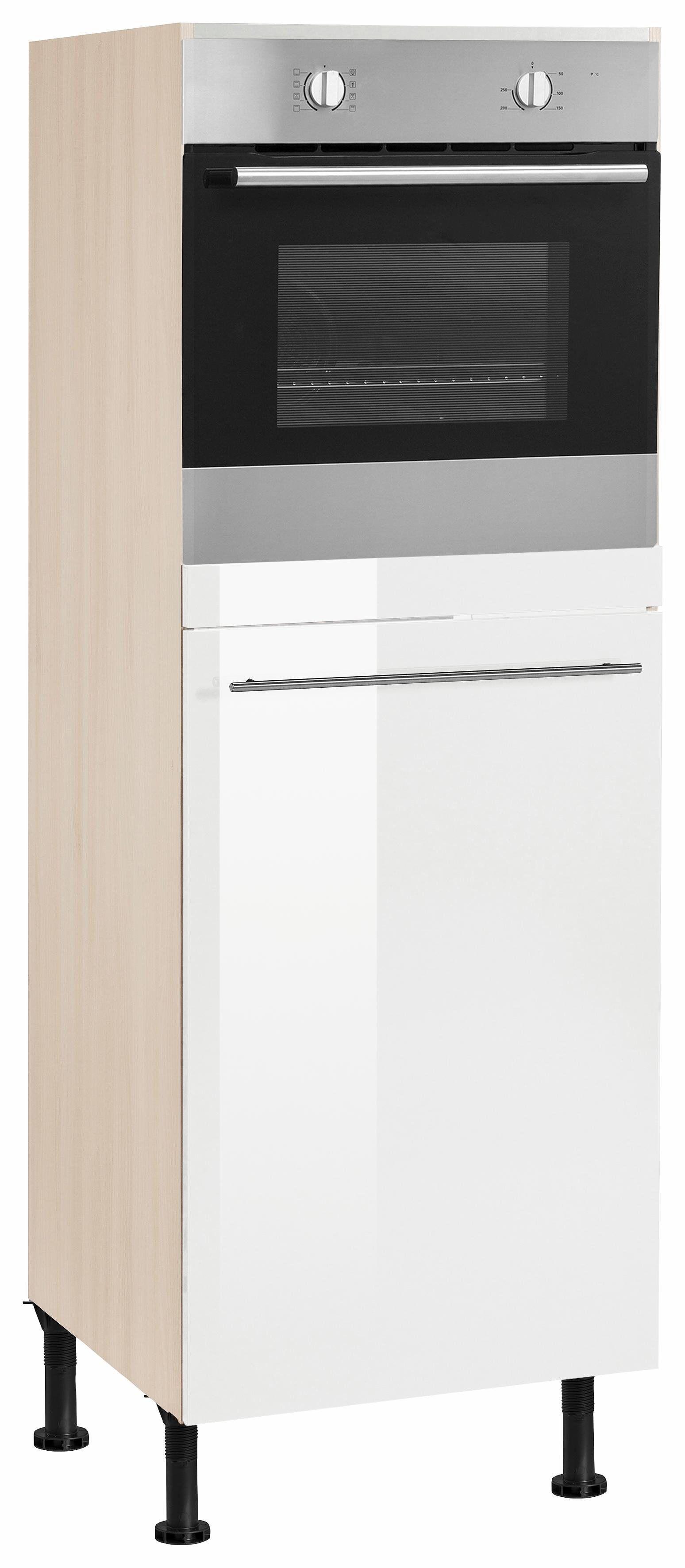 OPTIFIT Backofen/Kühlumbauschrank »Bern« 60 cm breit, 176 cm hoch, mit höhenverstellbaren Stellfüßen, mit Metallgriff, weiß Hochglanz/akaziefarben