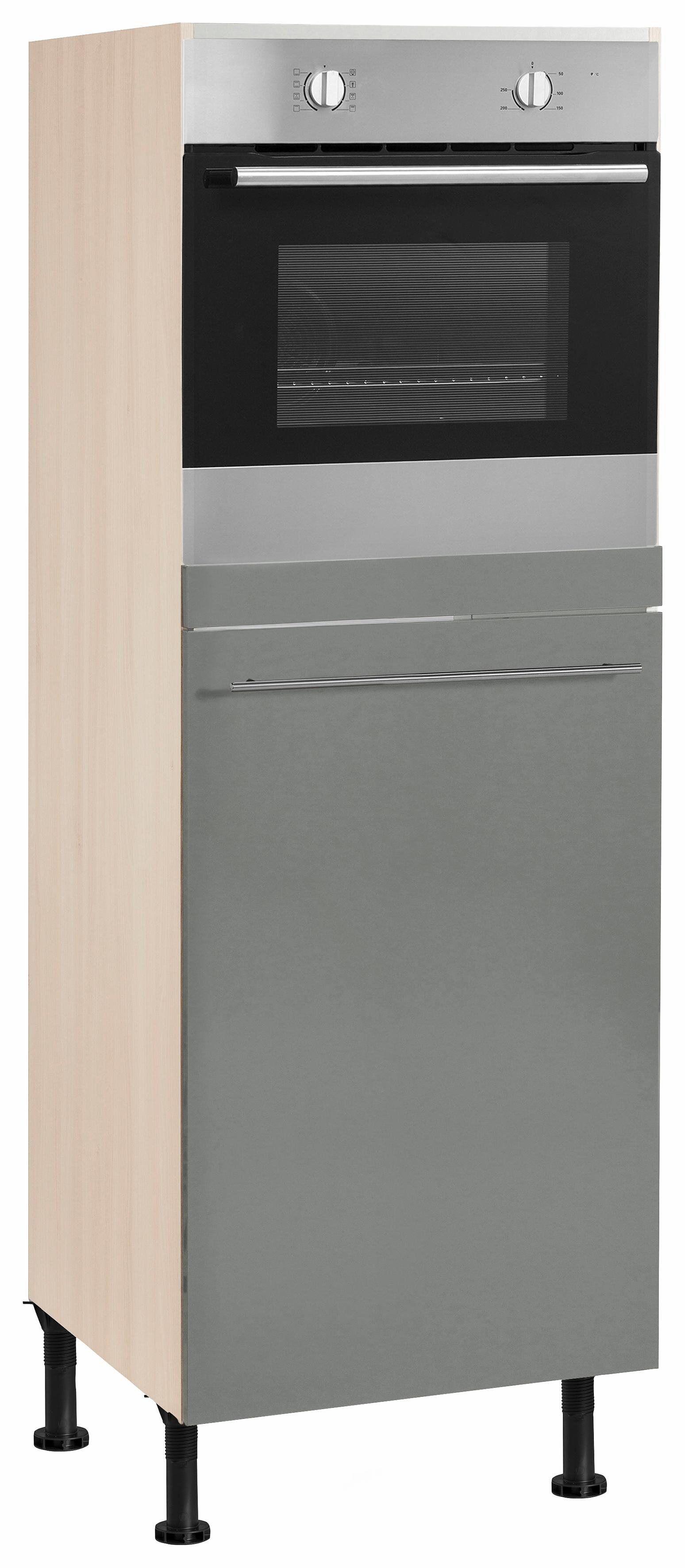 OPTIFIT Backofen/Kühlumbauschrank »Bern« 60 cm breit, 176 cm hoch, mit höhenverstellbaren Stellfüßen, mit Metallgriff, basaltgrau/akaziefarben