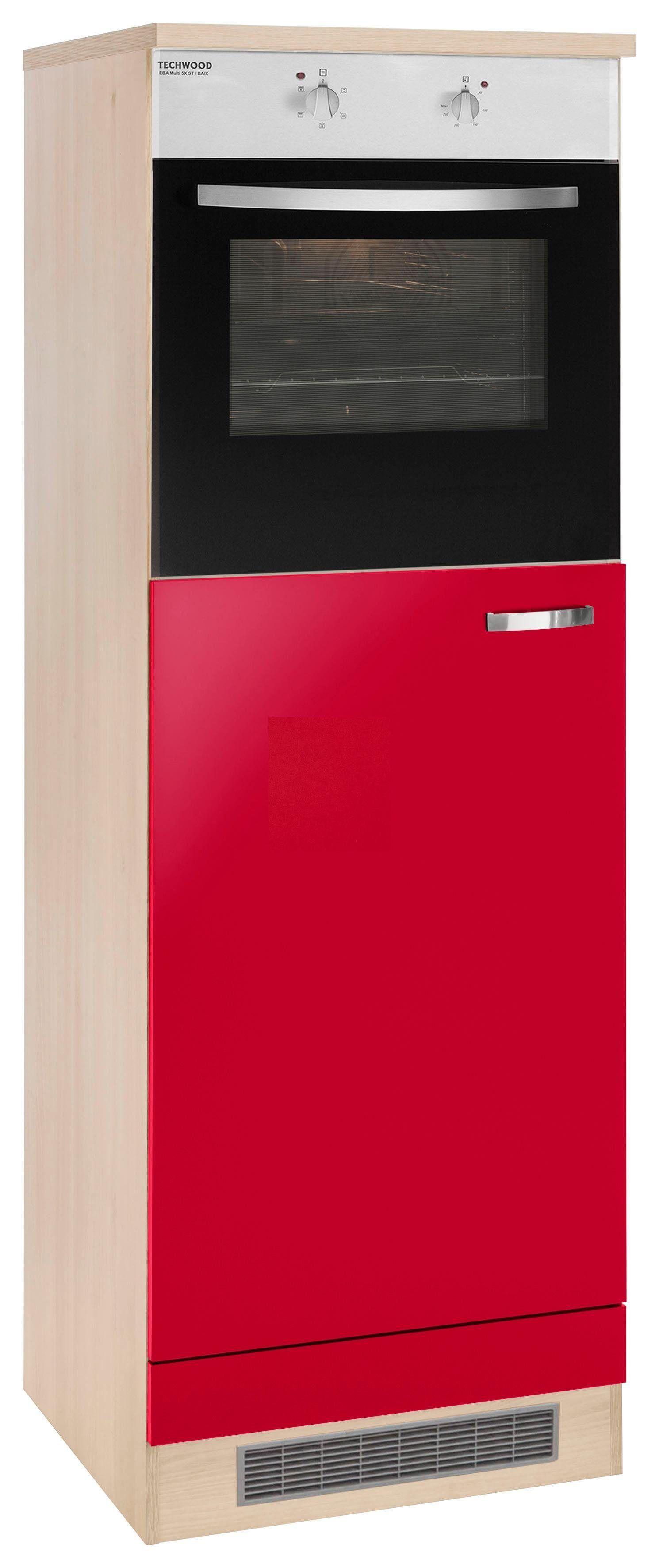 OPTIFIT Backofen/Kühlumbauschrank »Faro«, mit Metallgriff, Breite 60 cm, rot Glanz