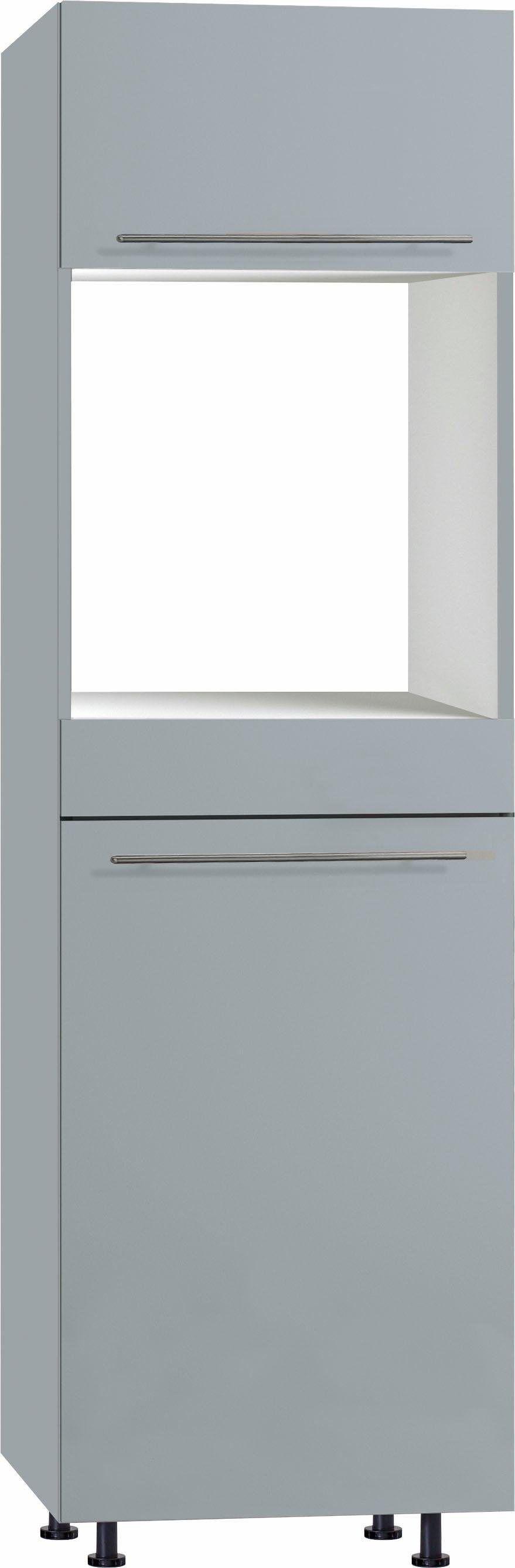 OPTIFIT Backofen/Kühlumbauschrank »Bern« 30 cm breit, 212 cm hoch, mit höhenverstellbaren Stellfüßen, mit Metallgriffen, basaltgrau/basaltgrau