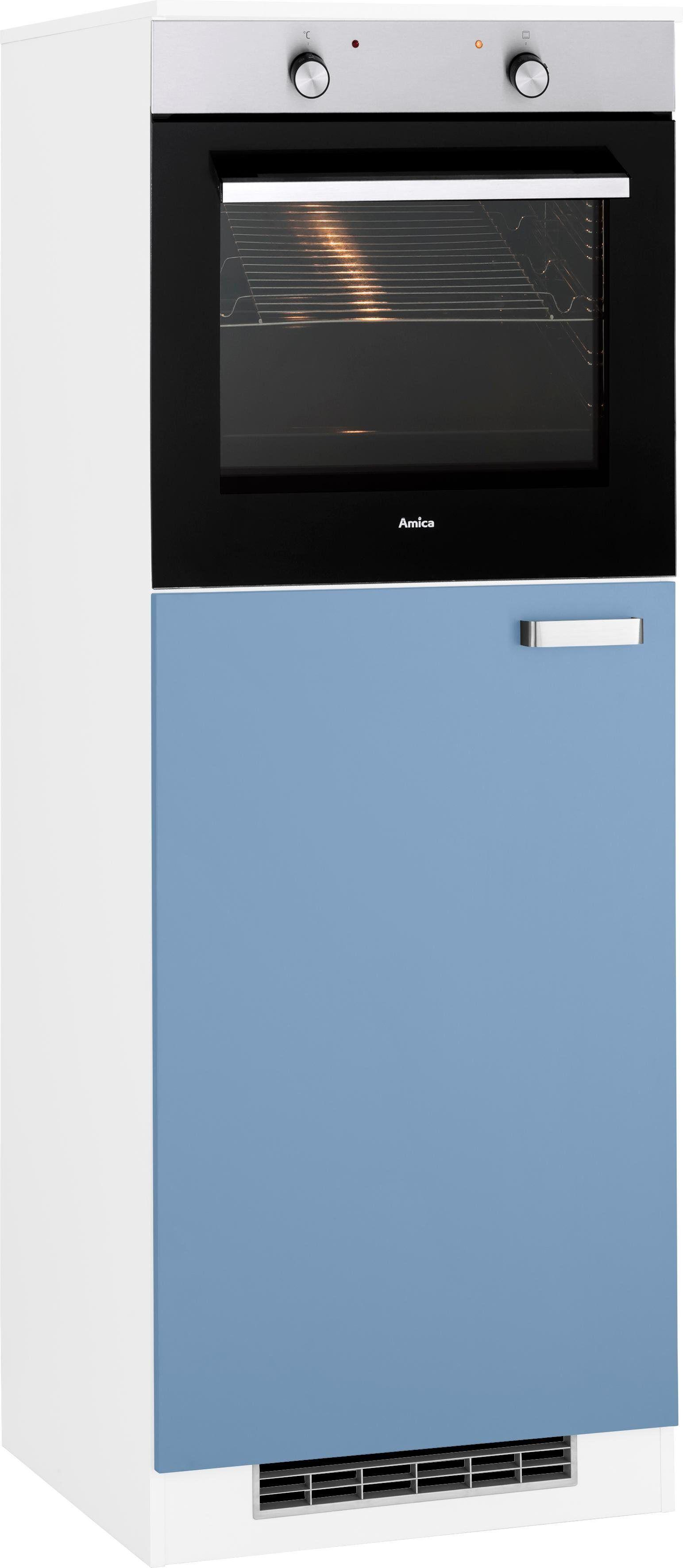 wiho Küchen Backofen/Kühlumbauschrank »Husum« 60 cm breit, himmelblau/weiß
