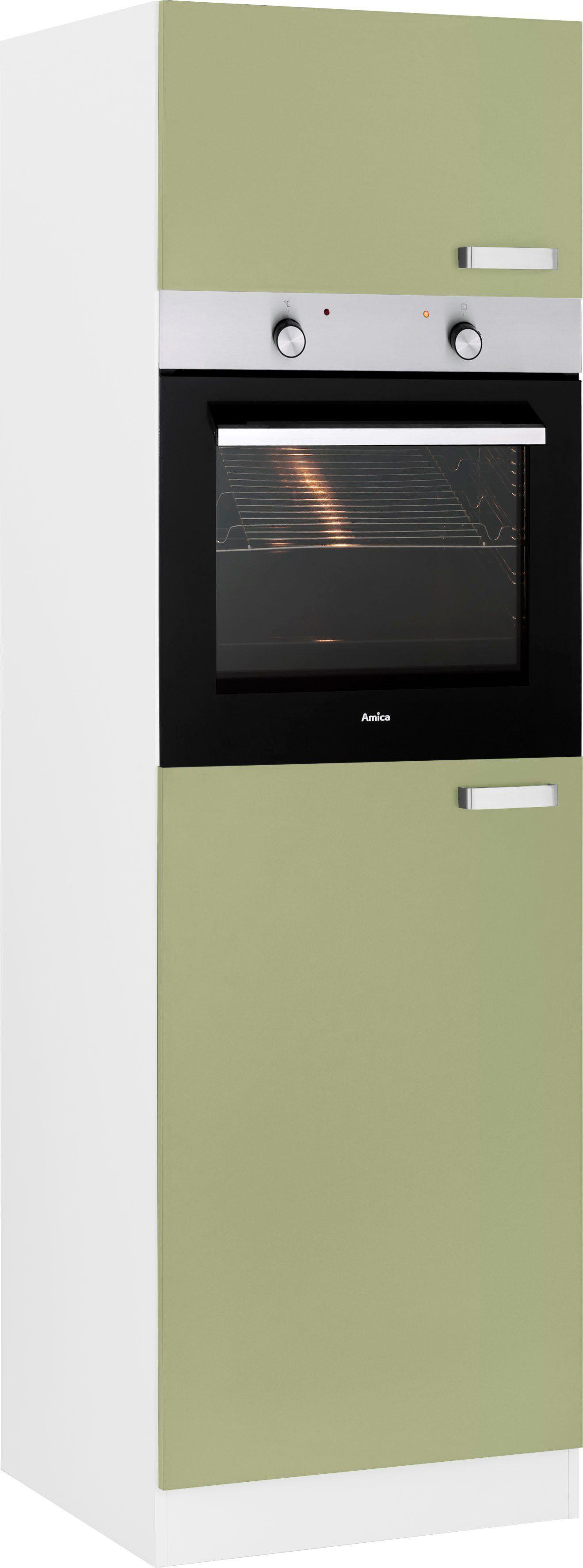 wiho Küchen Backofen/Kühlumbauschrank »Husum« 60 cm breit, avocadogrün/weiß