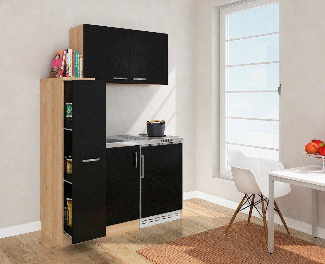 DUO Küchenzeile, mit Duo-Kochplattenmulde und Kühlschrank, Breite 130 cm, schwarz, Energieeffizienzklasse A+