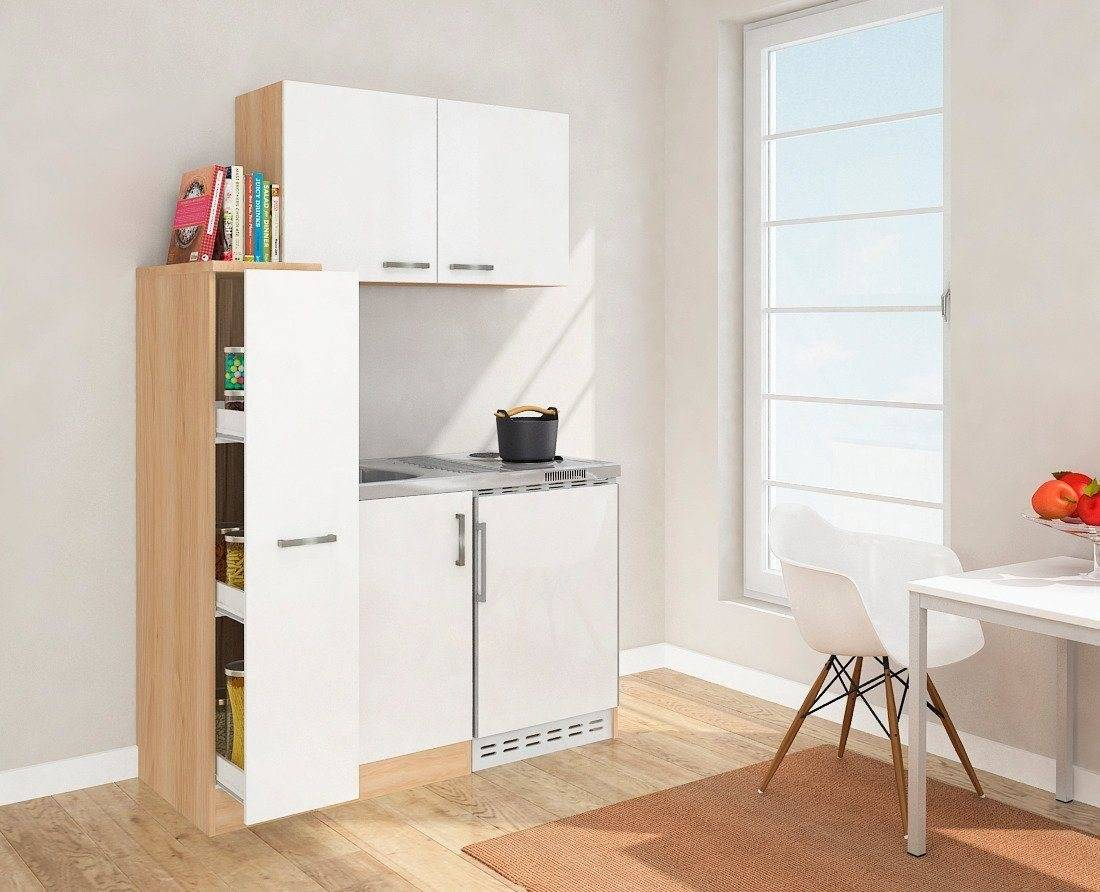 DUO Küchenzeile, mit Duo-Kochplattenmulde und Kühlschrank, Breite 130 cm, weiß/eichefarben, Energieeffizienzklasse A+