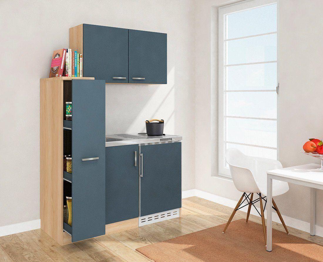 DUO Küchenzeile, mit Duo-Kochplattenmulde und Kühlschrank, Breite 130 cm, grau, Energieeffizienzklasse A+