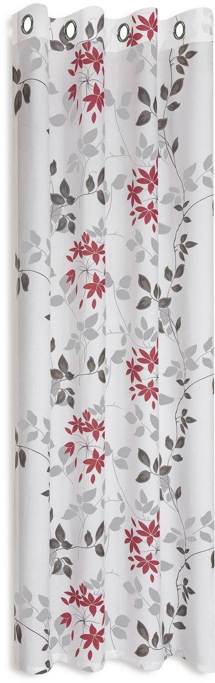 Gerster Vorhang »Bina«, , Ösen (1 Stück), HxB: 235x140, Ösenschal mit Ausbrenner Blumendesign, weiß-rot-grau