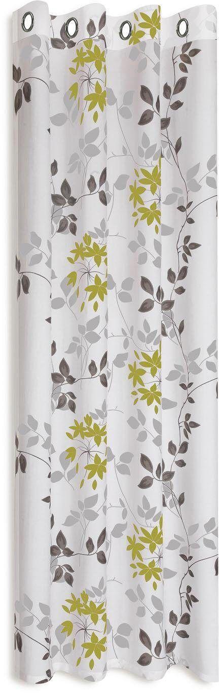 Gerster Vorhang »Bina«, , Ösen (1 Stück), HxB: 235x140, Ösenschal mit Ausbrenner Blumendesign, weiß-grün-grau