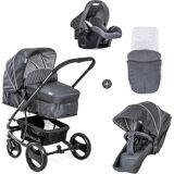 Hauck Kombi-Kinderwagen »Pacific 4 Shop N Drive, Melange Charcoal«, mit Babyschale