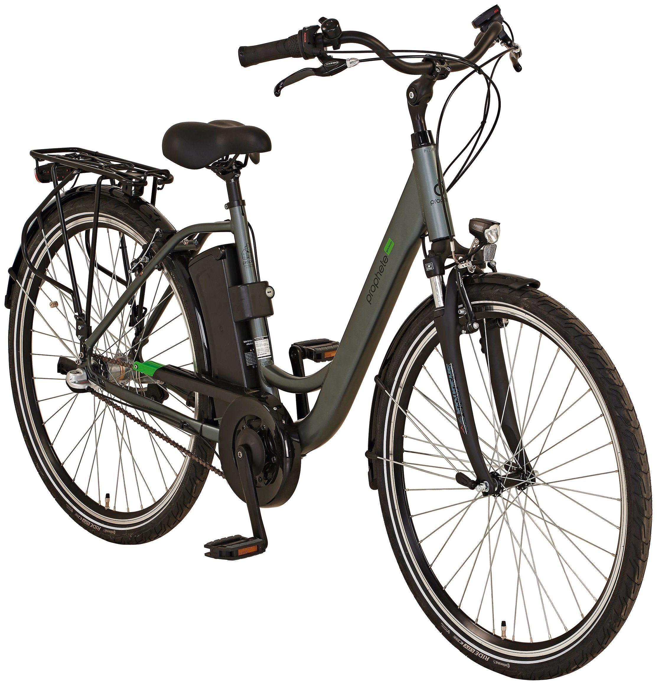 Prophete E-Bike City »GENIESSER 20.EMC.20«, 28 Zoll, 3 Gang, Mittelmotor, silberfarben