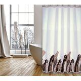 MSV Duschvorhang »PREMIUM FEDERN VINTAGE«, Breite 180 cm, weiß