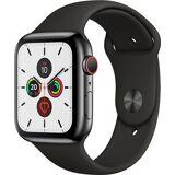 Apple Series 5 GPS + Cellular, Edelstahl mit Sportarmband 44mm Watch (Watch OS 6)
