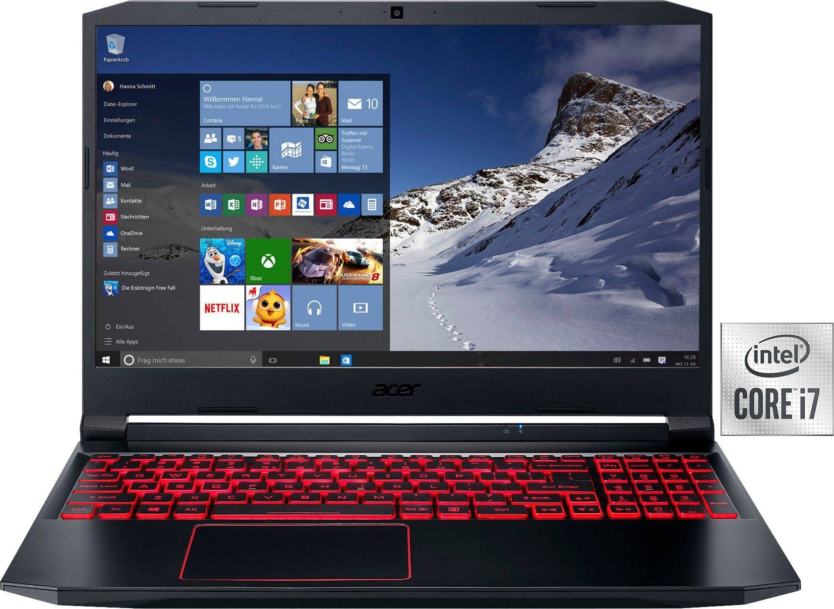 Acer Nitro 5 Gaming-Notebook (39,62 cm/15,6 Zoll, Intel Core i7, GeForce GTX 1650 Ti, - GB HDD, 1000 GB SSD, Gaming Laptop inkl. Office-Anwendersoftware Microsoft 365 Single im Wert von 69 Euro)