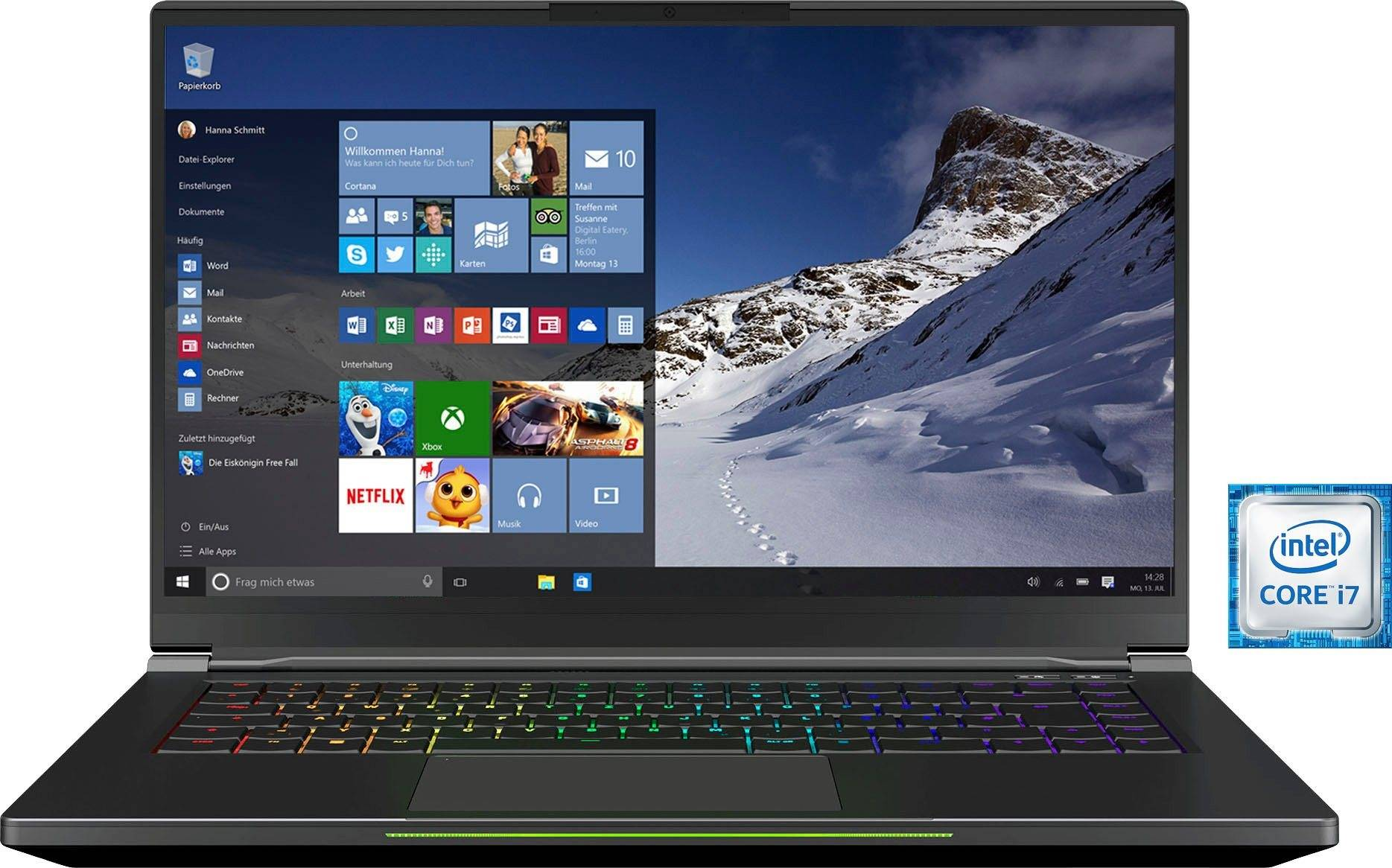 XMG FUSION 15-L19 Notebook (39,62 cm/15,6 Zoll, Intel Core i7, GeForce RTX™ 2070, 500 GB SSD, inkl. Office-Anwendersoftware Microsoft 365 Single im Wert von 69 Euro)