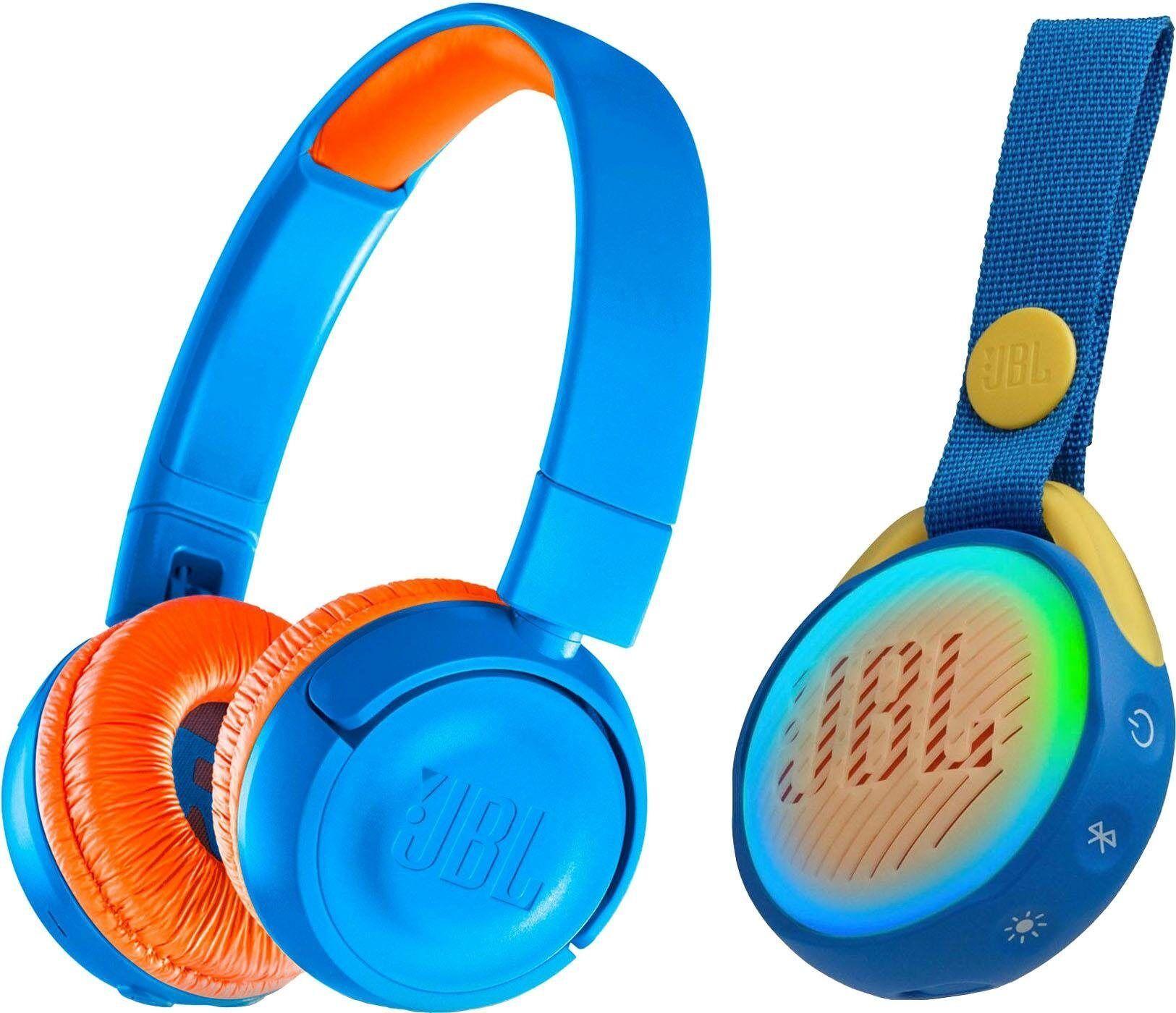 JBL »JR300BT + POP« On-Ear-Kopfhörer (Bluetooth, + Bluetooth-Lautsprecher, für Kinder), blau