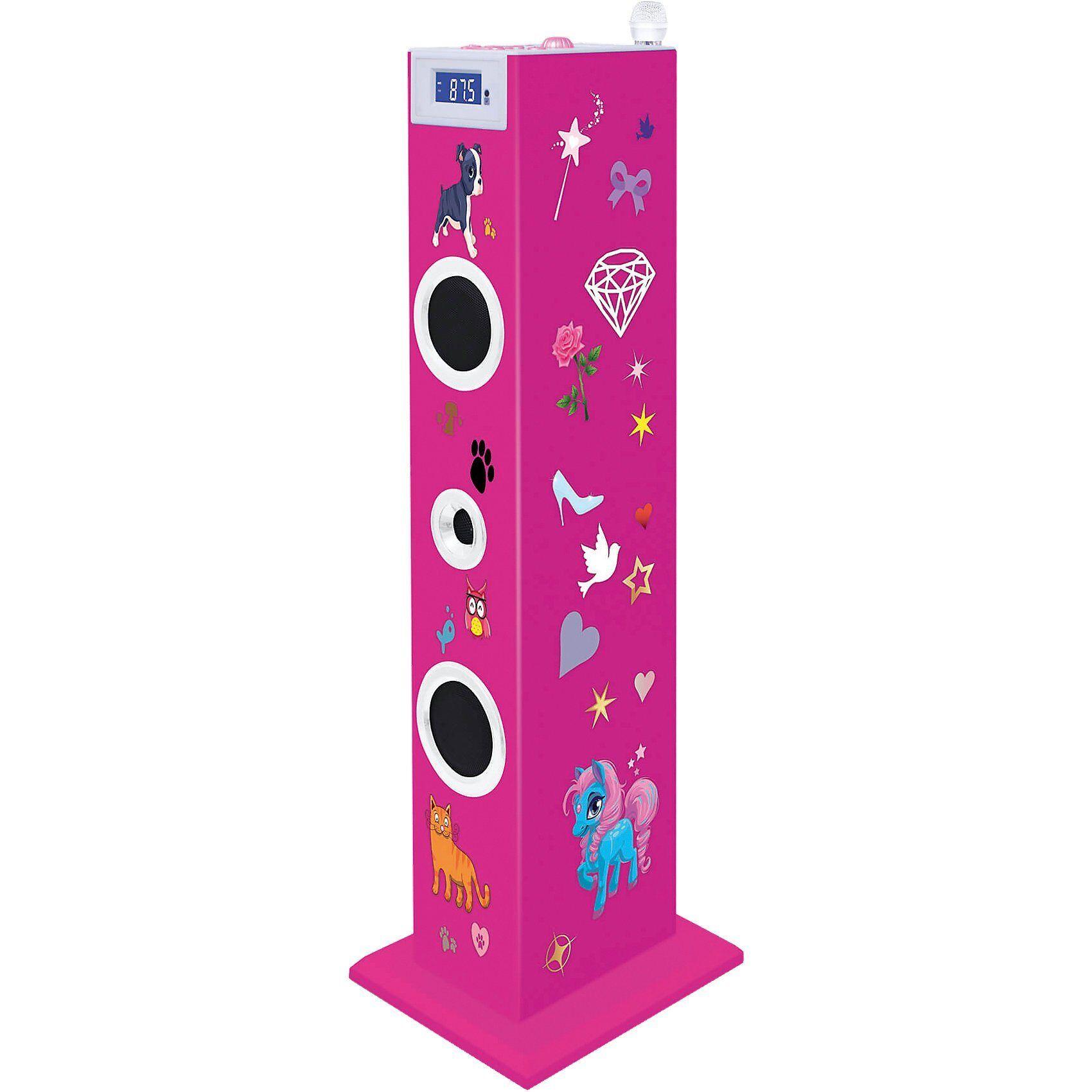 BigBen Musikanlage Sound Tower TW5 - Pink, inkl. Sticker