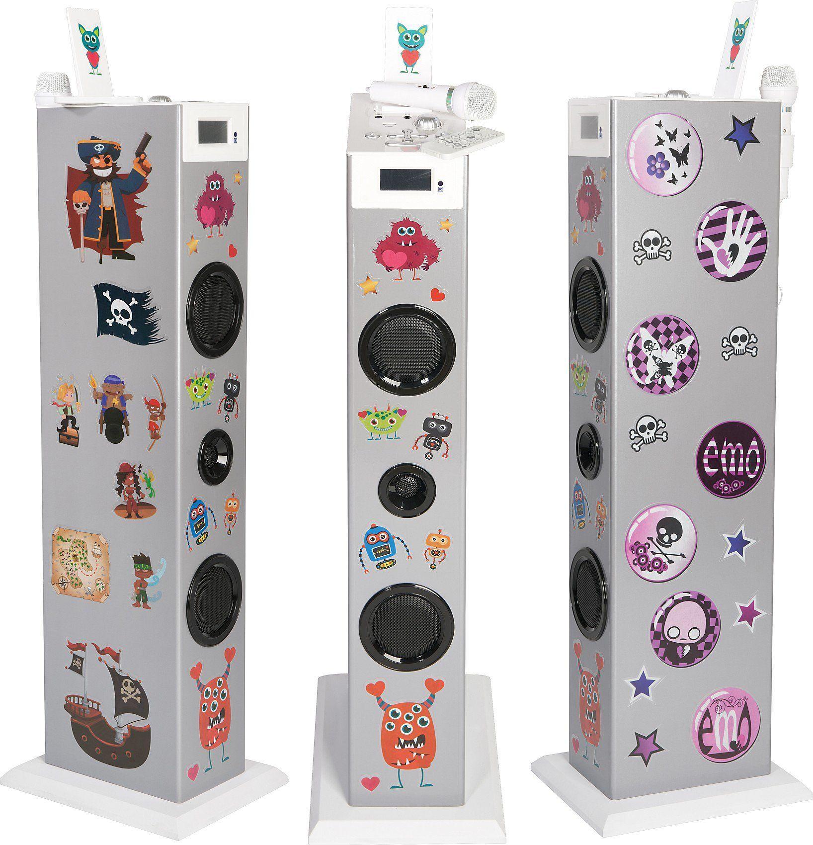 BigBen Musikanlage Sound Tower TW5 Rock Stand-Lautsprecher, silber