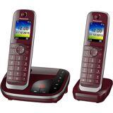 Panasonic »KX-TGJ322« Schnurloses DECT-Telefon (Mobilteile: 2, mit Anrufbeantworter, Weckfunktion, Freisprechen), weinrot