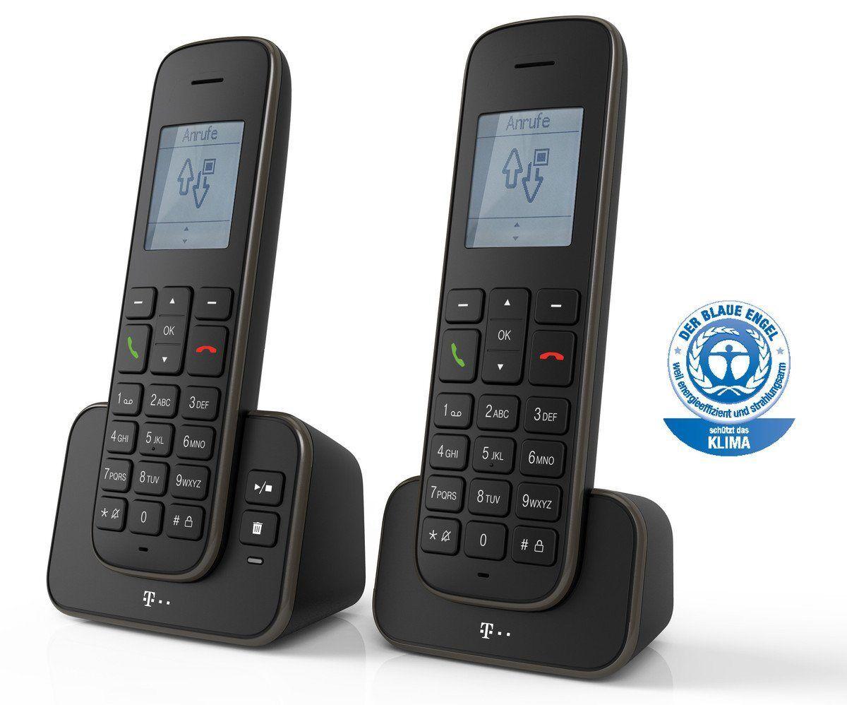 Telekom Telefon analog schnurlos »Sinus A 207 Duo«, Schwarz