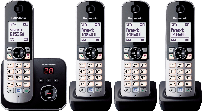 Panasonic »KX-TG6824GB« Schnurloses DECT-Telefon (Mobilteile: 4, Nachtmodis, Freisprechen, Anrufbeantworter)