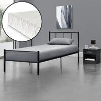 en.casa metallbett, »argos« 90x200 schwarz mit matratze