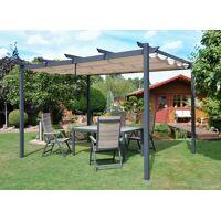 leco pavillon »flachdachpergola 3 x 4 m«, 300 x 400 cm, aluminiumpfosten, natur