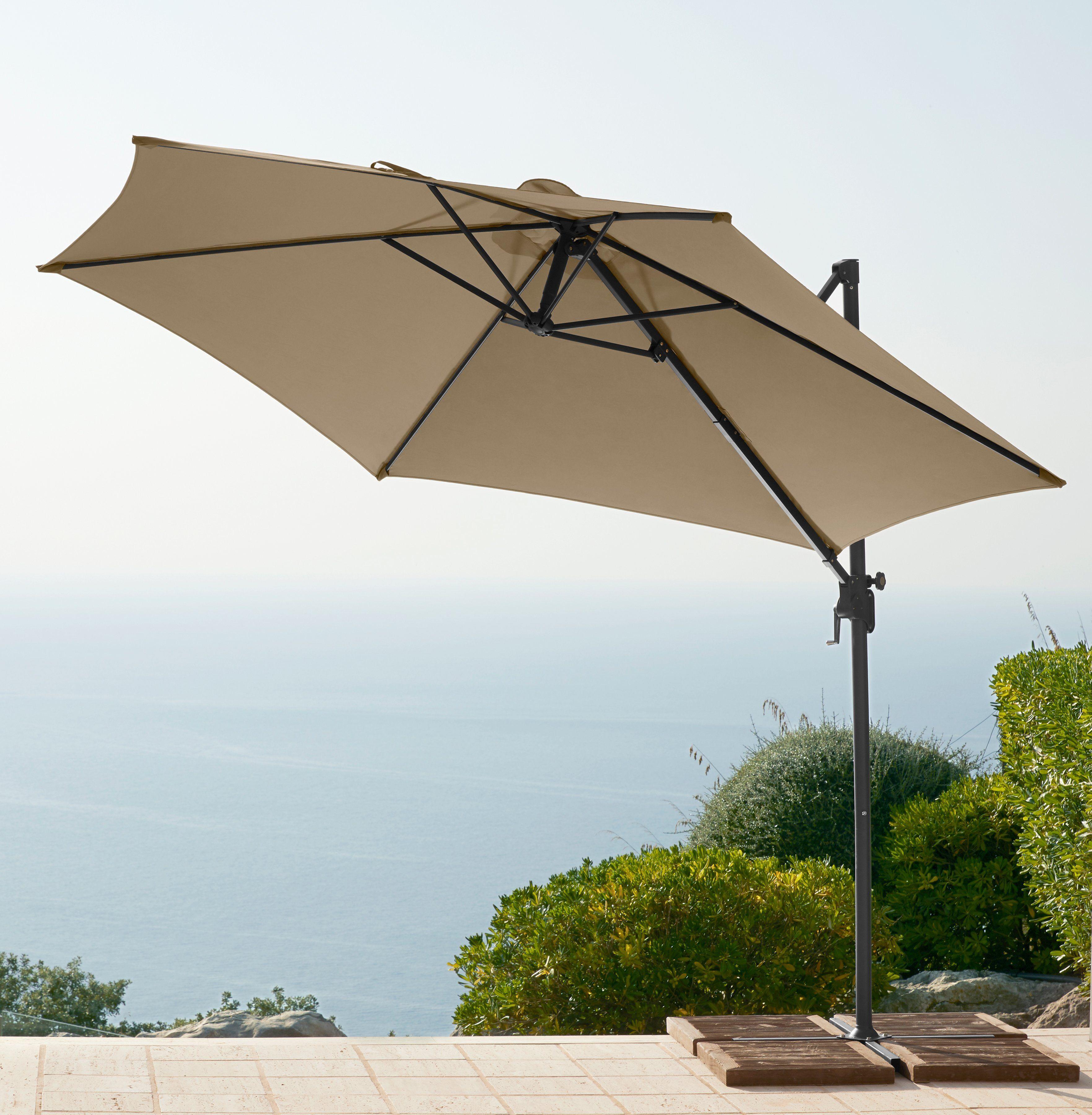 garten gut GARTENGUT Ampelschirm »Palermo«, 300x300 cm, ohne Wegeplatten, sandfarben