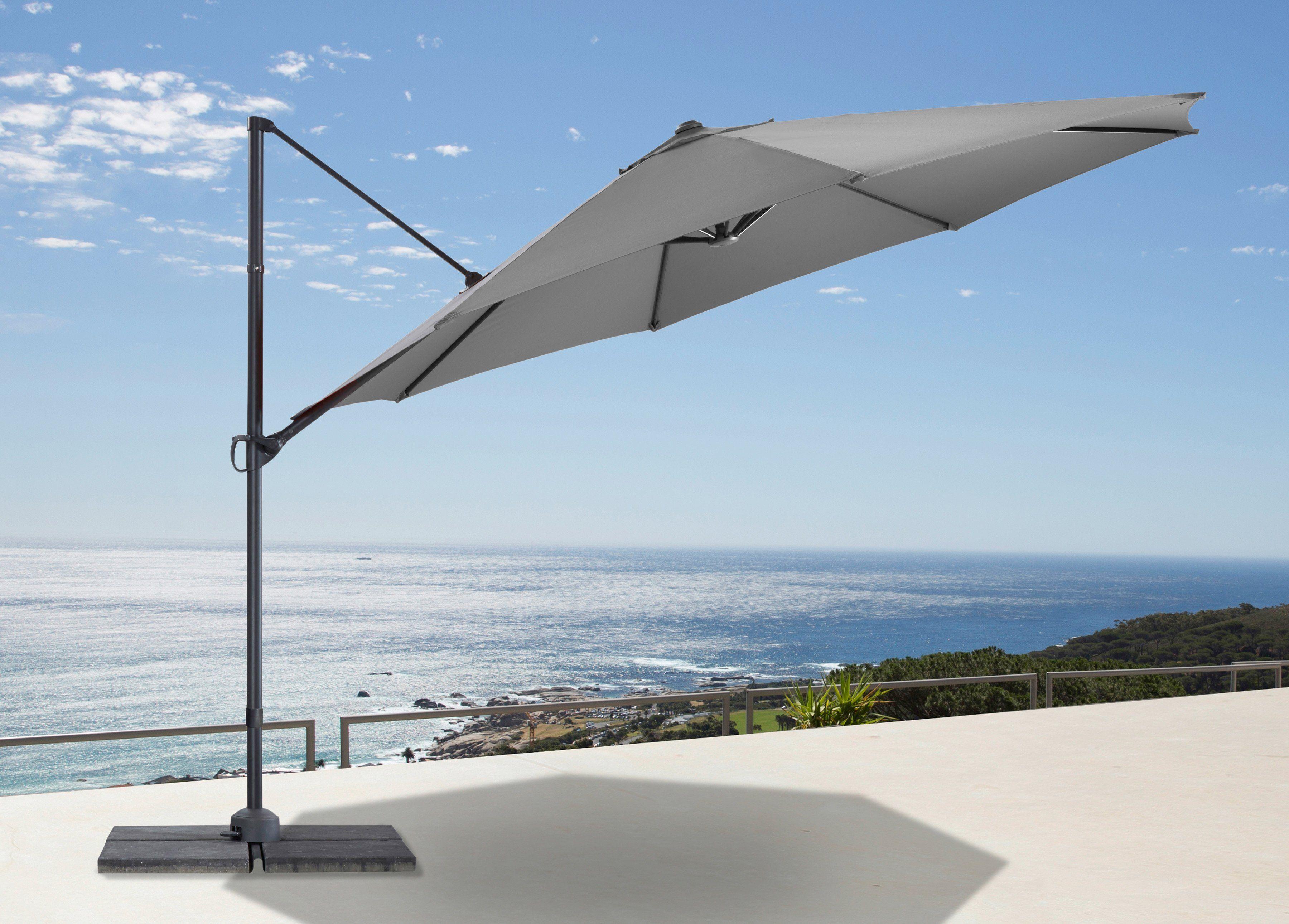 garten gut Ampelschirm »Marbella«, Ø 350 cm, grau