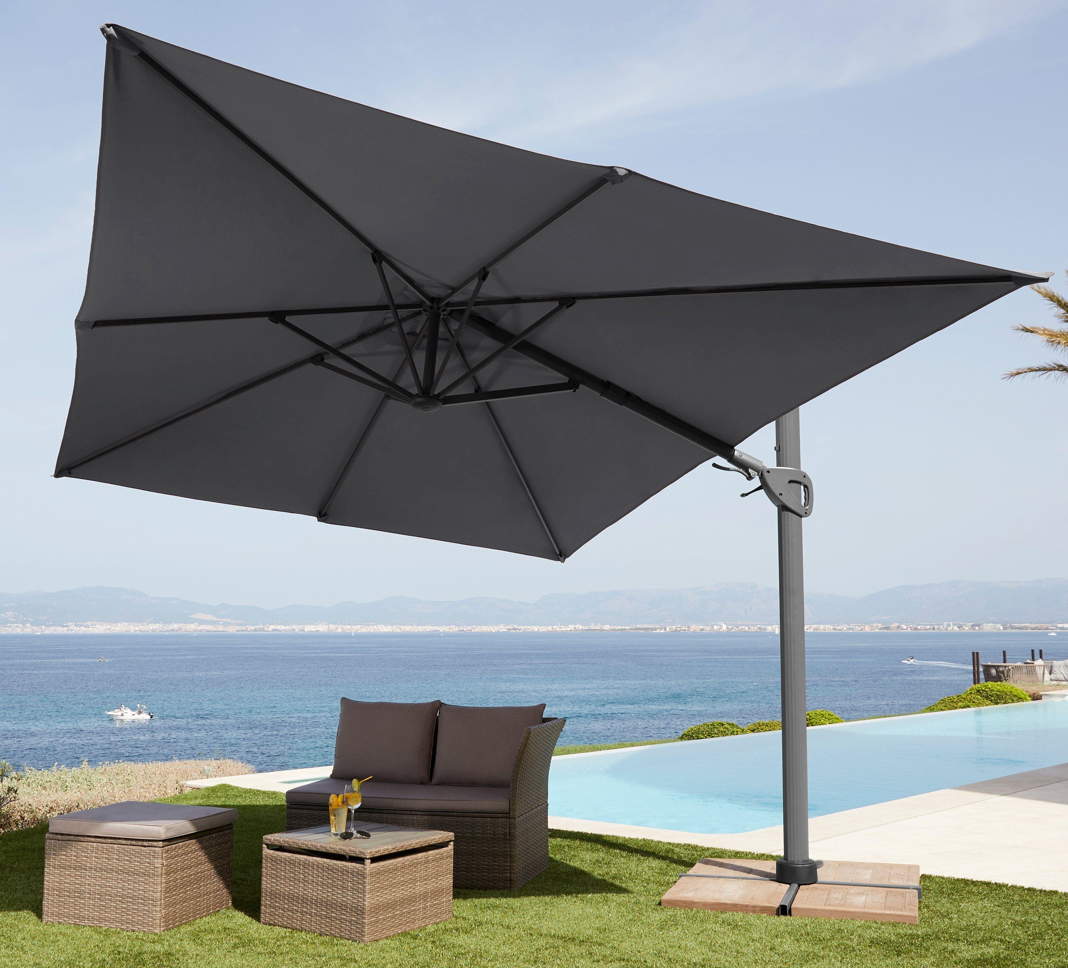 garten gut Sonnenschirm »Big Rom«, (L/B): ca. 300x400 cm, grau