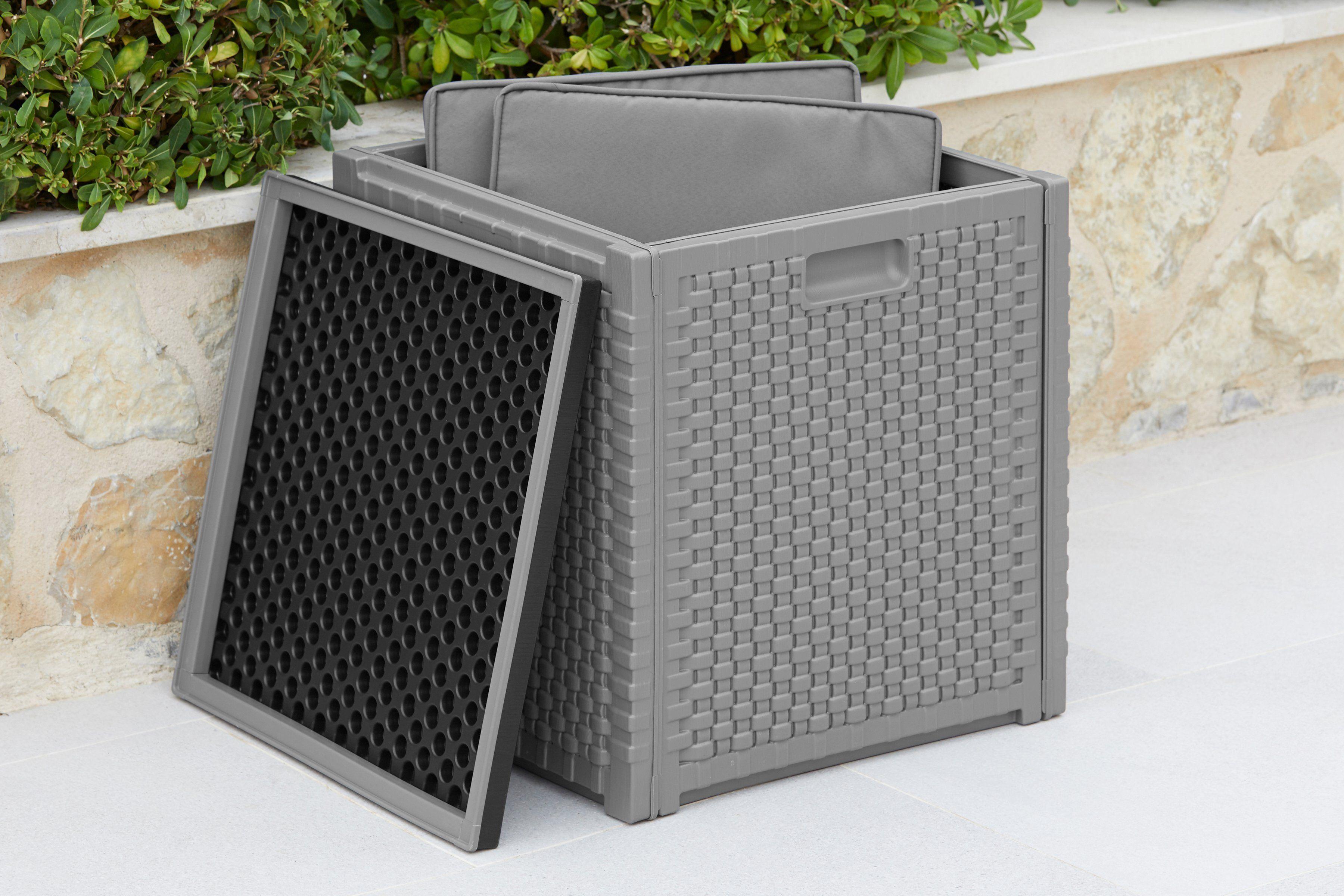 garten gut Kissenbox Maße (B/T/H): ca. 47x47x52 cm, Volumen ca. 160 Liter, grau