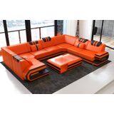 Sofa Dreams Wohnlandschaft »Ragusa«, U Form, orange-schwarz, Energieeffizienzklasse A++