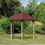 Karibu Set: Holzpavillon »Madrid«, BxT: 349x302 cm, braun