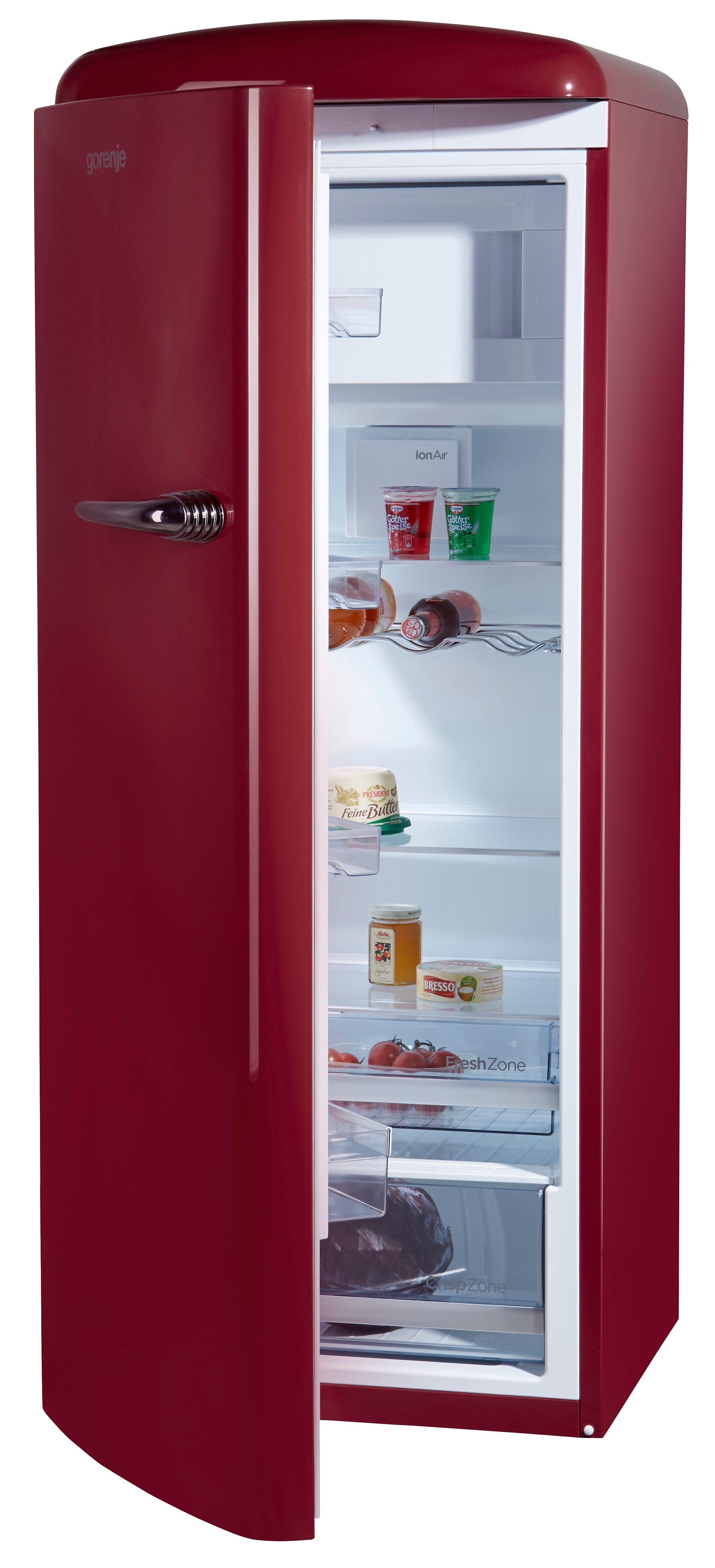 Gorenje Kühlschrank ORB 153 R-L, 154 cm hoch, 60 cm breit, 154 cm hoch, 60 cm breit, burgundy, Energieeffizienzklasse A+++