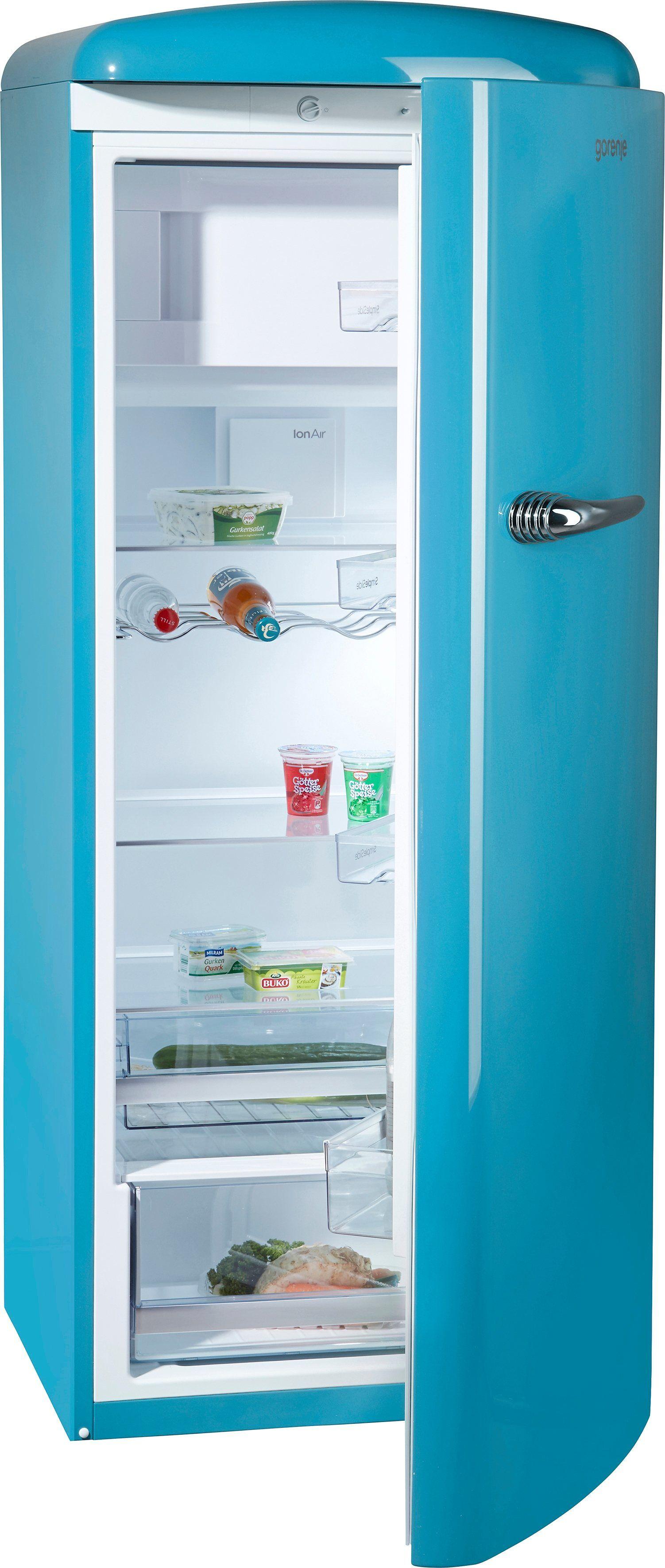 Gorenje Kühlschrank ORB 153 BL, 154 cm hoch, 60 cm breit, 154 cm hoch, 60 cm breit, baby blue, Energieeffizienzklasse A+++