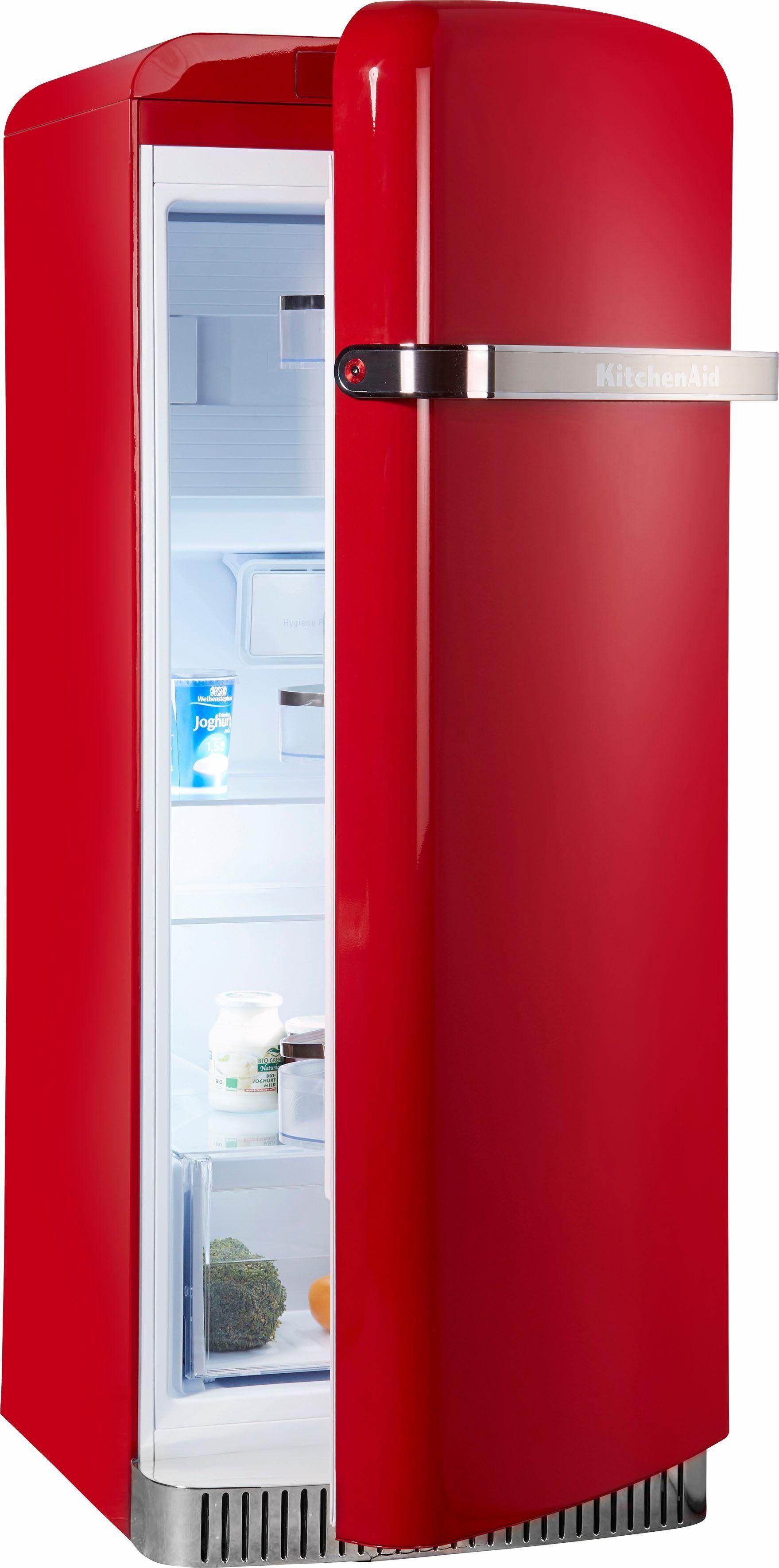KitchenAid Kühlschrank KCFME 60150R, 155,5 cm hoch, 60,8 cm breit, 155,5 cm hoch, Retro, rot, Energieeffizienzklasse A++