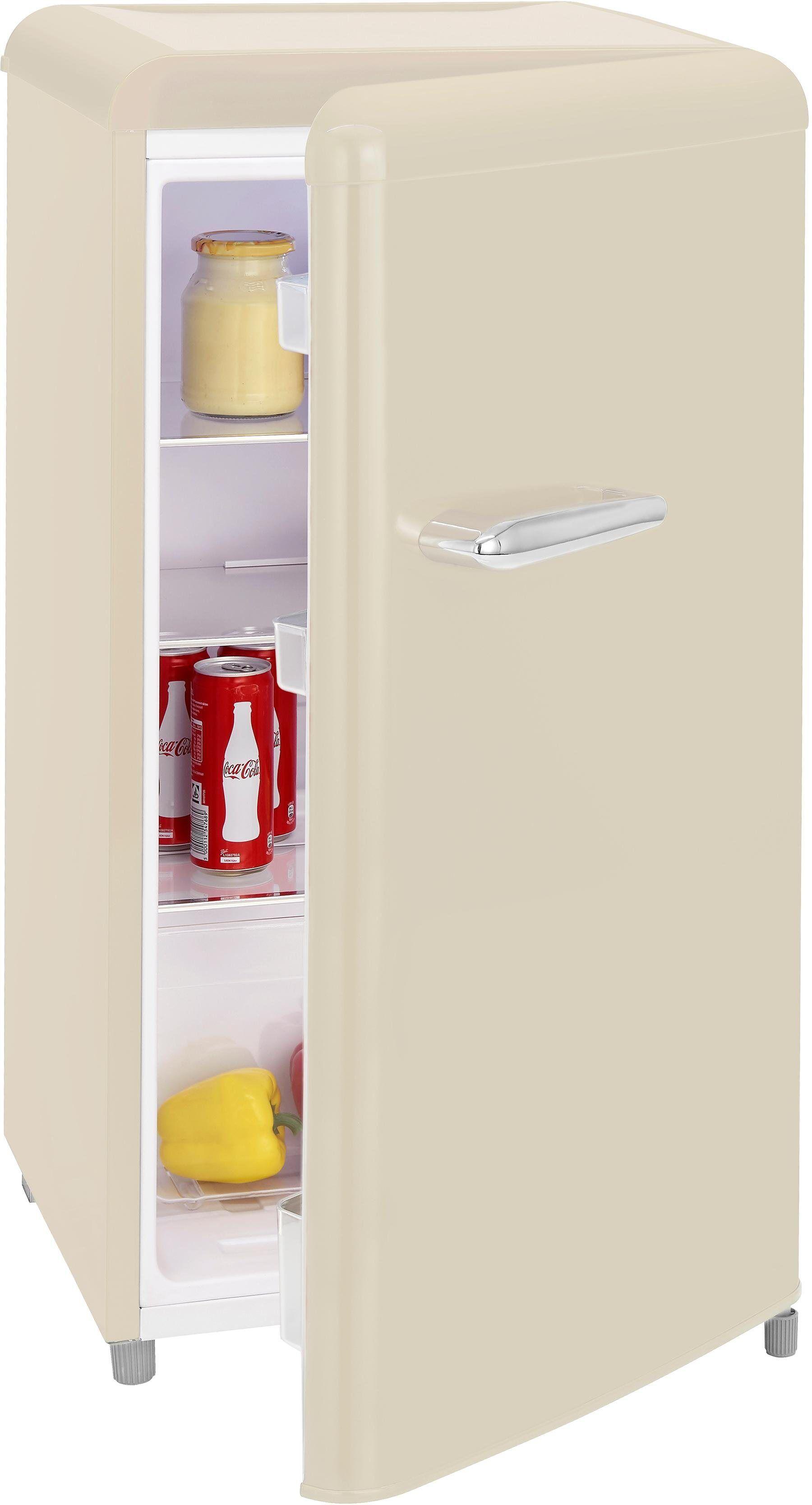 exquisit Table Top Kühlschrank RKS 100-16 RVA++ MW, 90,5 cm hoch, 48 cm breit, Retro, magnolienweiß, Energieeffizienzklasse A++