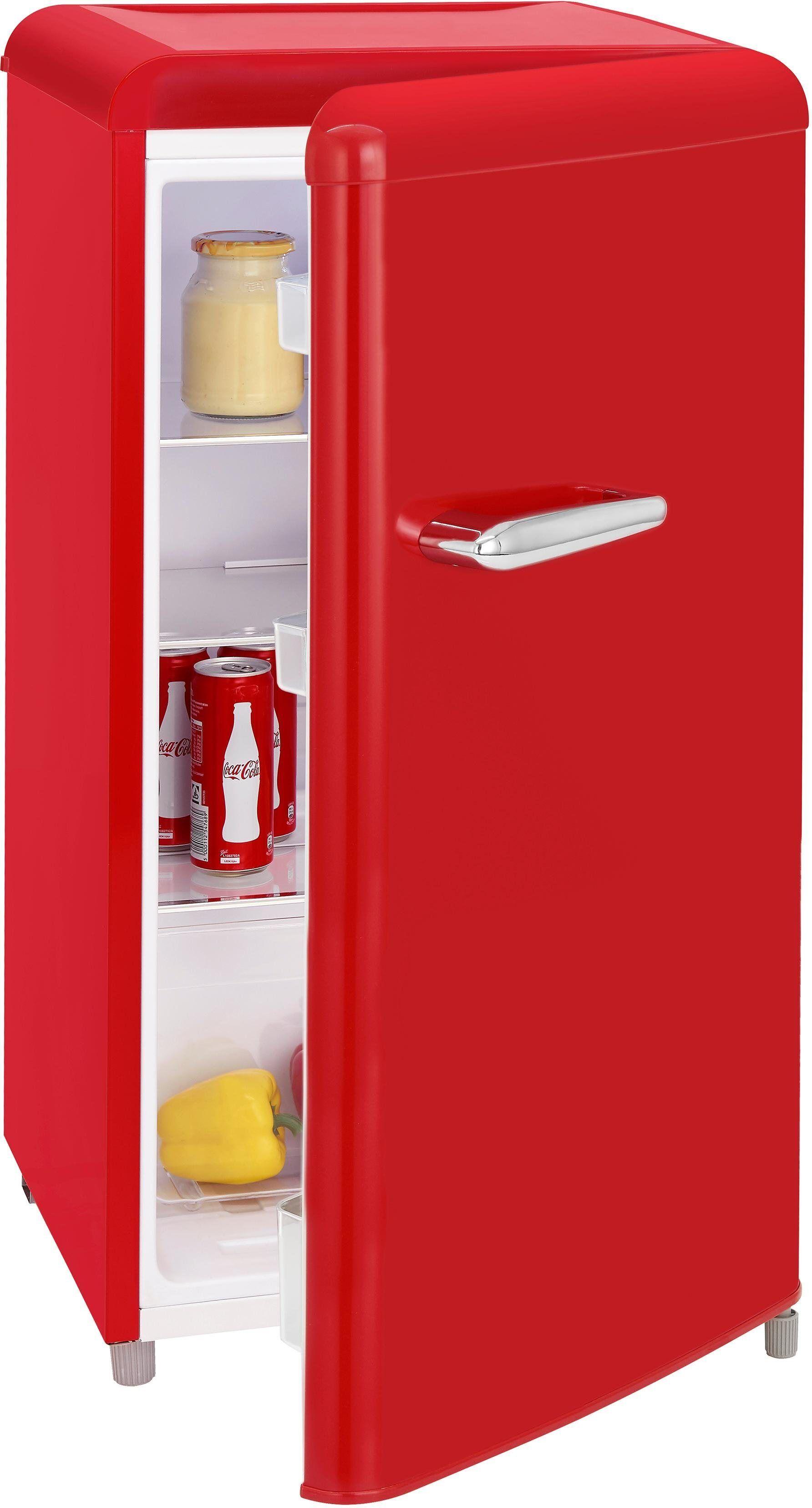 exquisit Table Top Kühlschrank RKS 100-16 RVA++ Rot, 90,5 cm hoch, 48 cm breit, Retro, rot, Energieeffizienzklasse A++