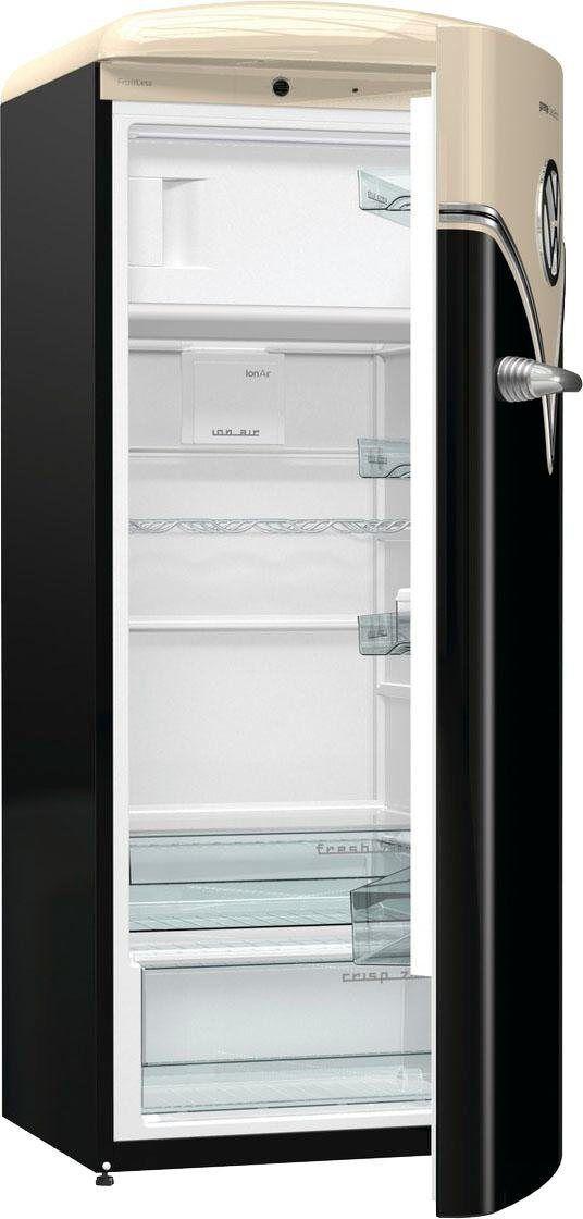 Gorenje Kühlschrank VW Bulli OBRB153BK, 154 cm hoch, 60 cm breit, schwarz, Energieeffizienzklasse A+++