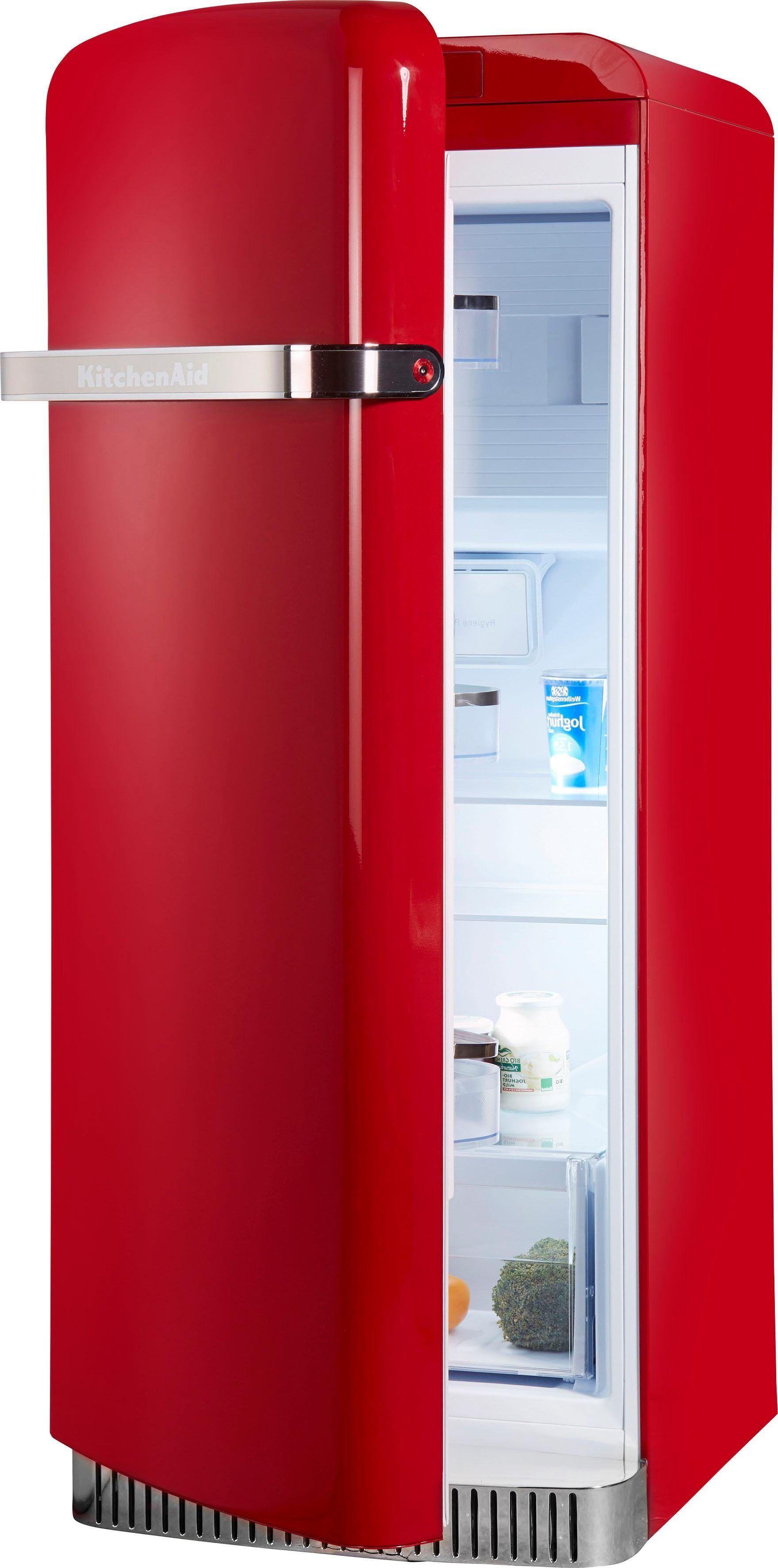 KitchenAid Kühlschrank KCFME 60150L, 155,5 cm hoch, 60,8 cm breit, 155,5 cm hoch, Retro, rot, Energieeffizienzklasse A++