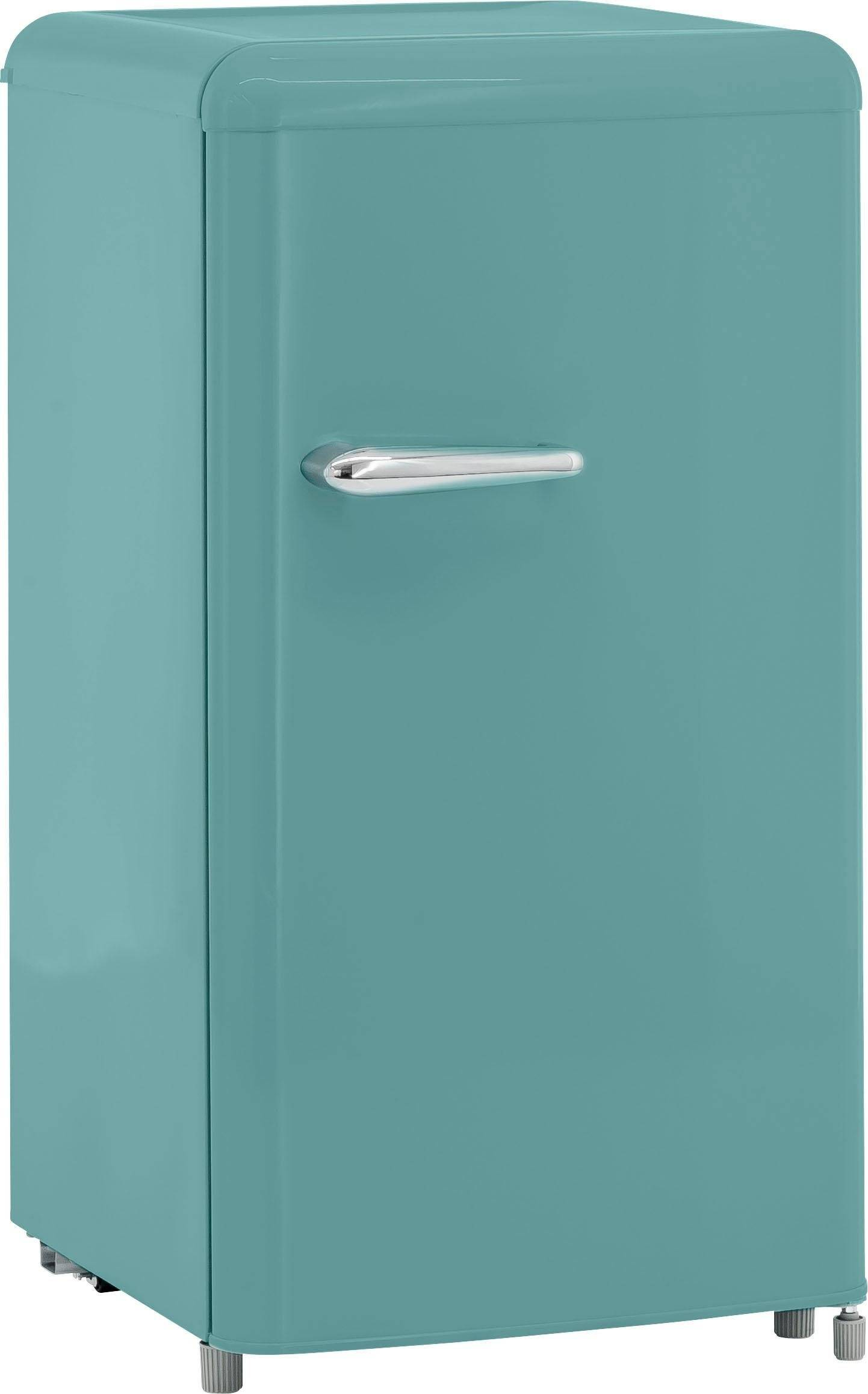 exquisit Table Top Kühlschrank RKS 100-16 RVA++ TB, 90,5 cm hoch, 48 cm breit, Retro, taubenblau, Energieeffizienzklasse A++