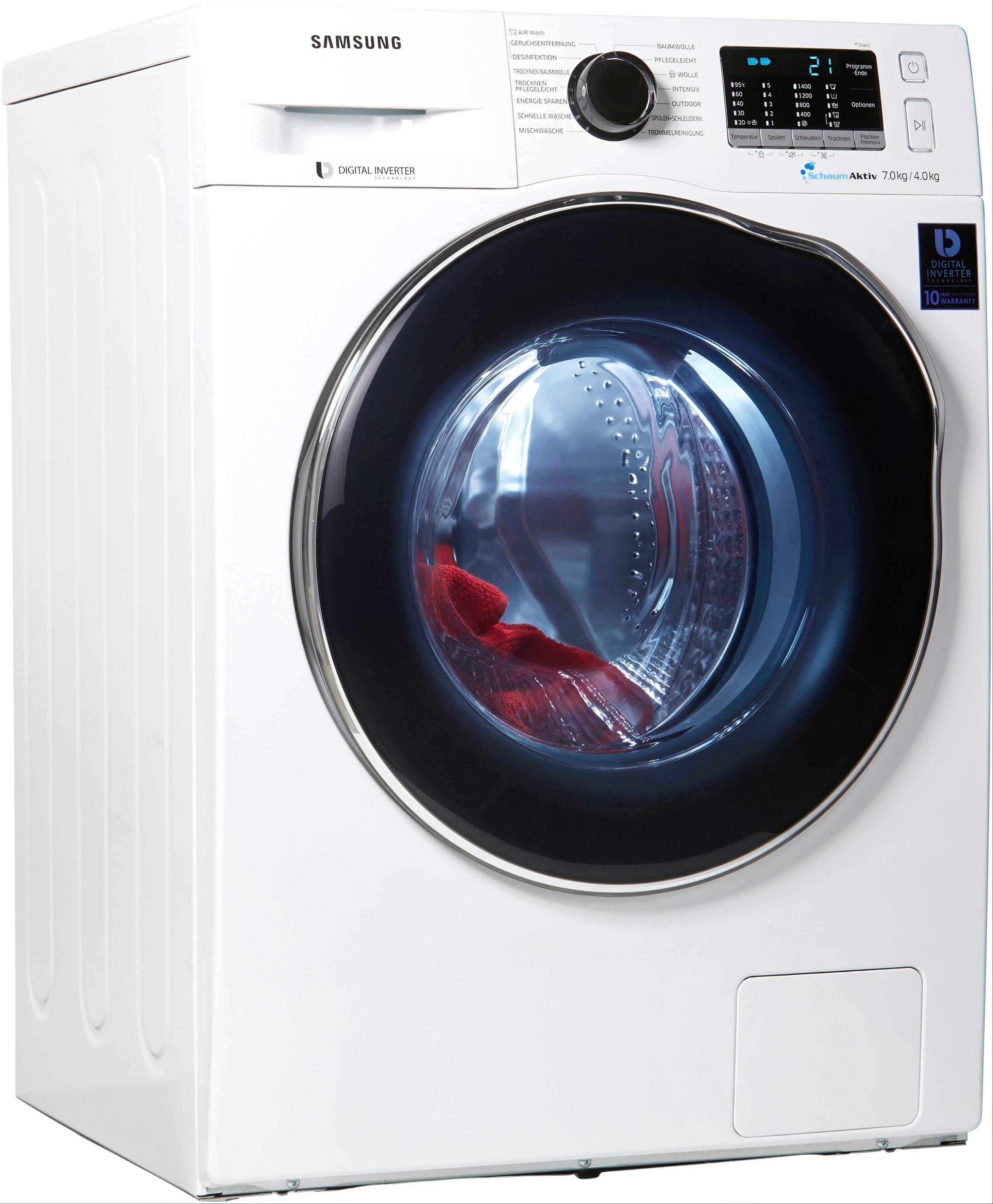 Samsung Waschtrockner WD5000 WD70J5A00AW, 7 kg/4 kg, 1400 U/Min, SchaumAktiv, Energieeffizienzklasse A