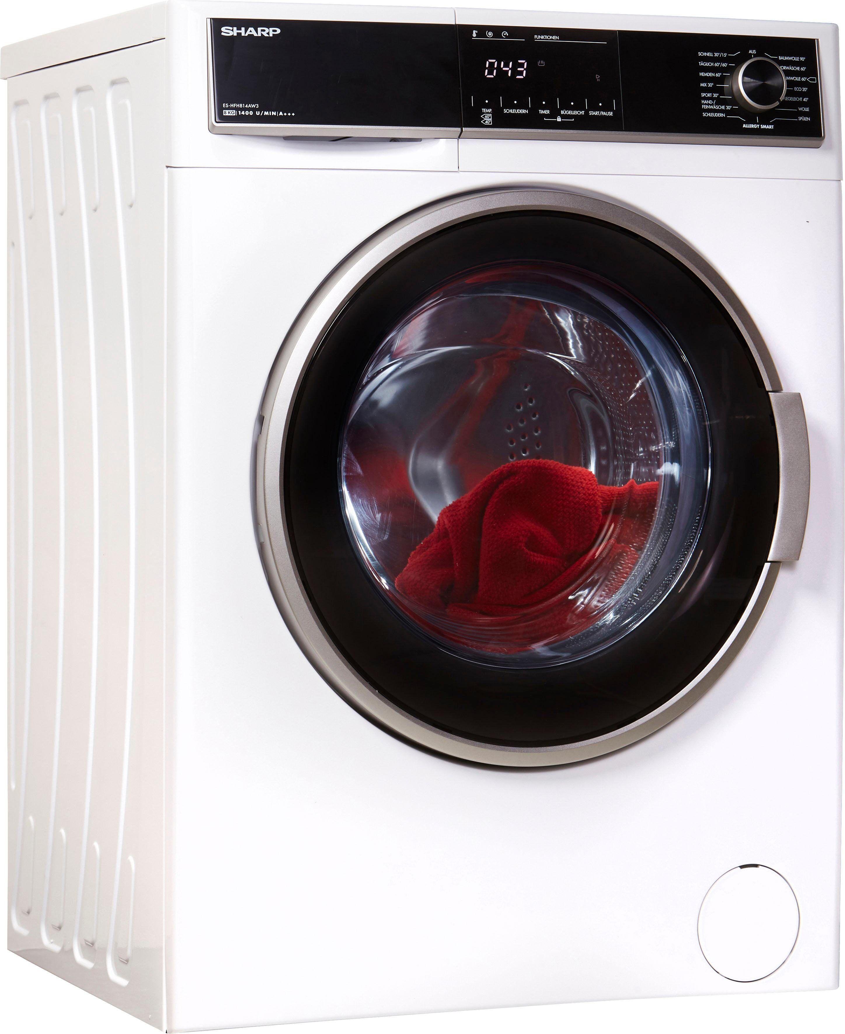 Sharp Waschmaschine ES-HFH814AW3-DE, 8 kg, 1400 U/Min, Energieeffizienzklasse A+++